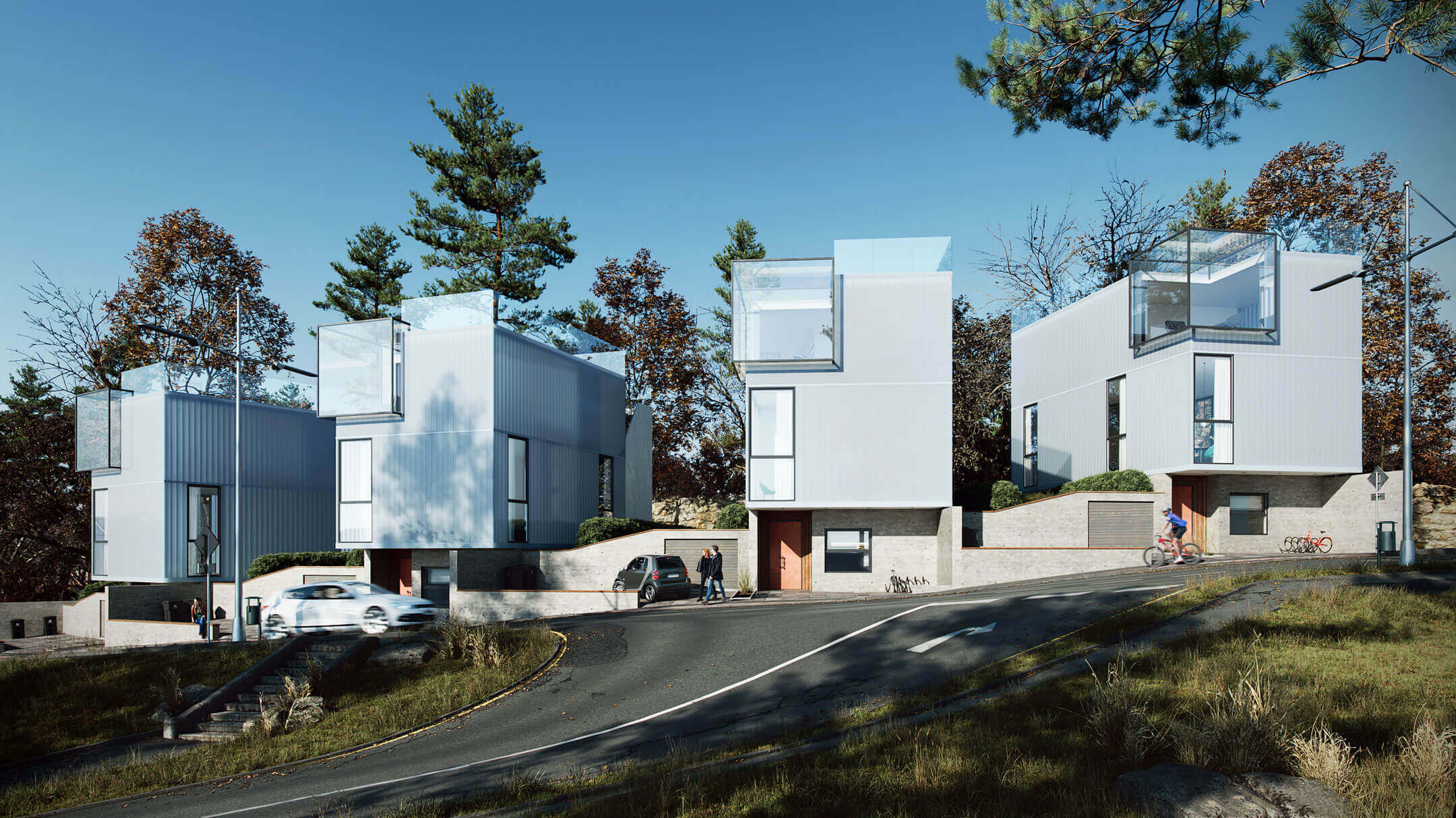 3D Architectural Rendering Of A Cozy Neighbourhood