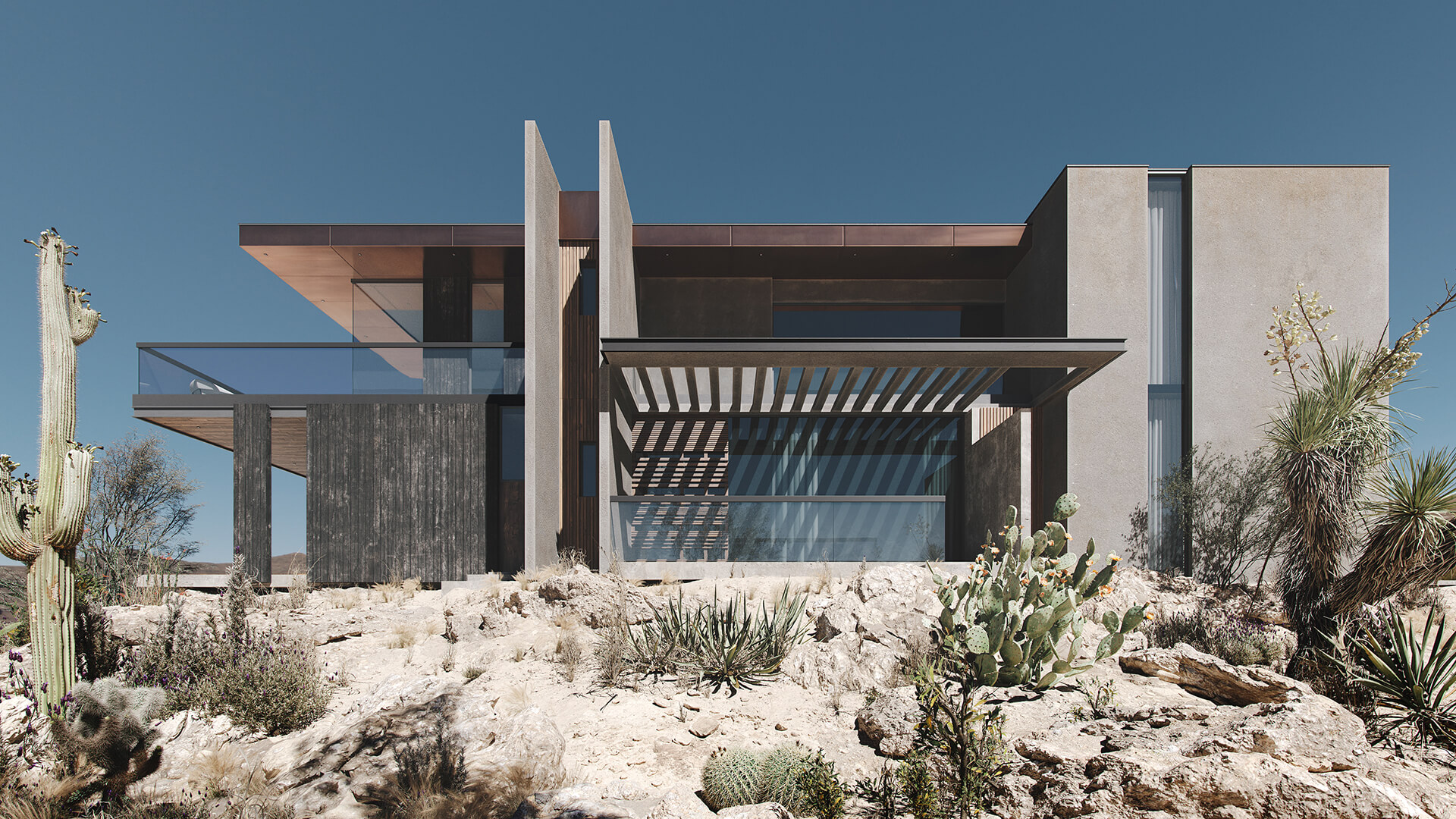 3D Exterior Visualization Of A Desert Villa