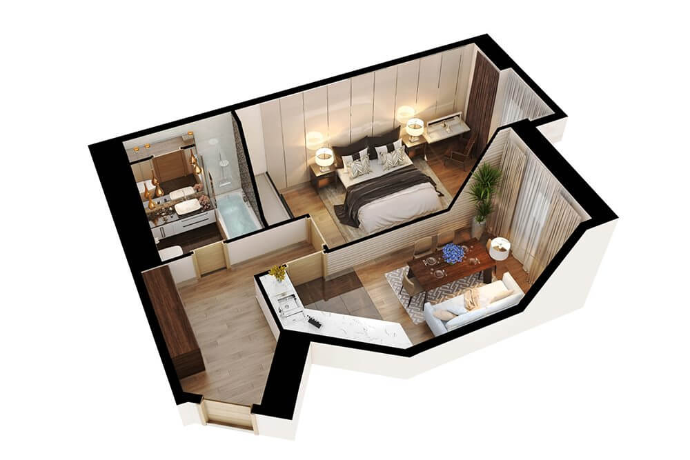 3D Floor Plan Of An Apartment Made By 3D Residential Design Services