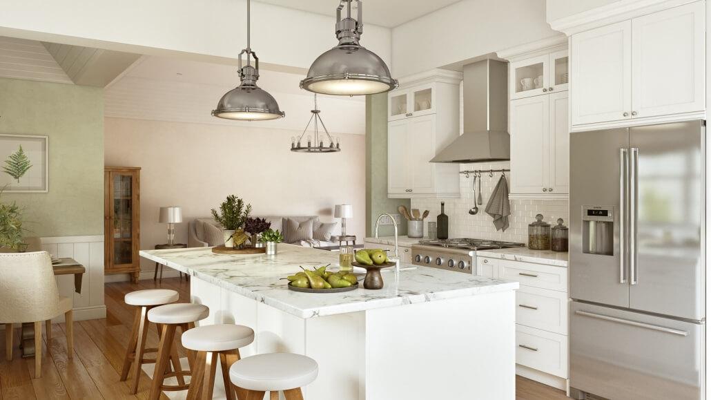 3D Interior Visualization Of A Modern Kitchen