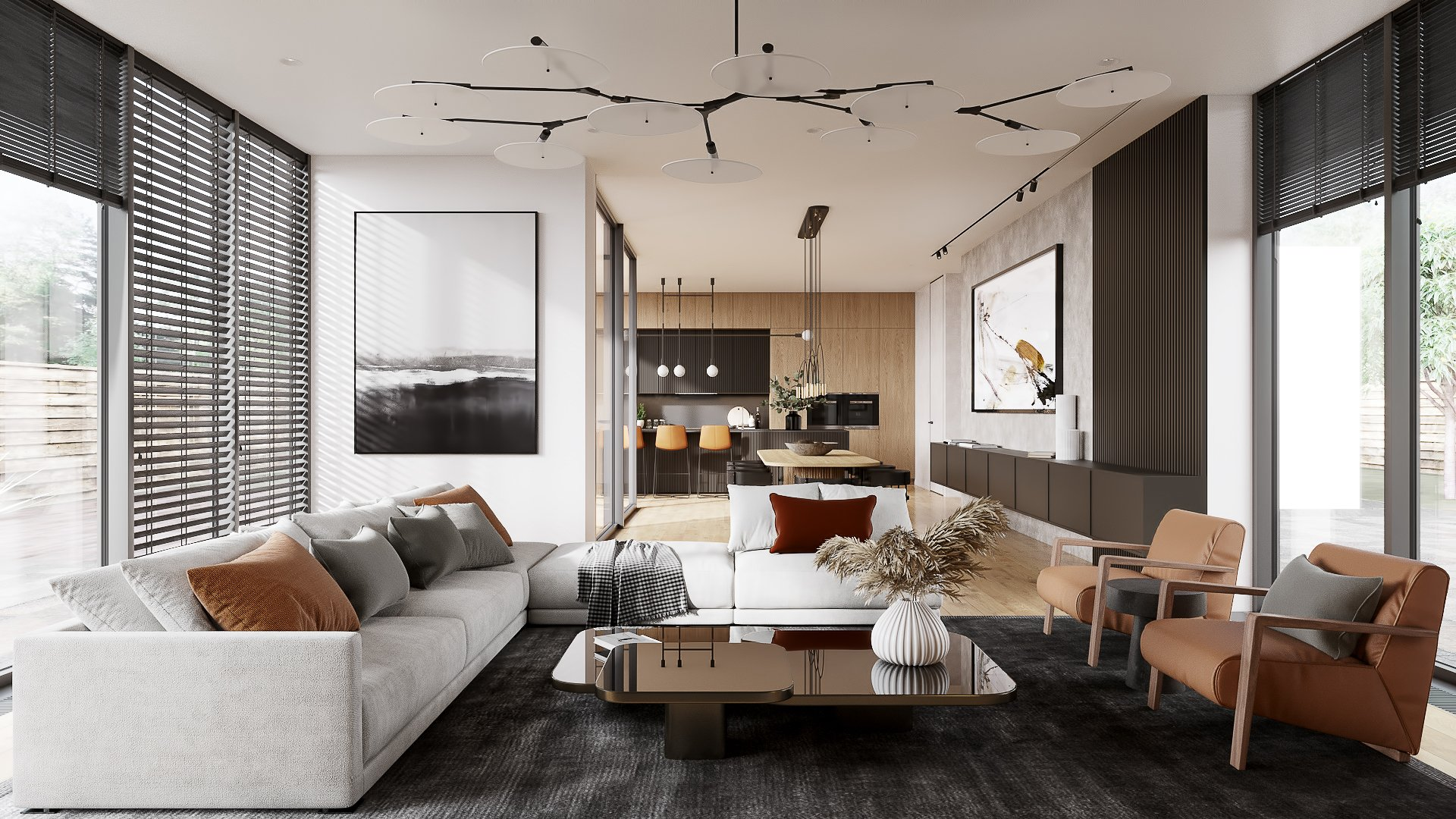 3D Interior Visualization of a Modern Apartment Design