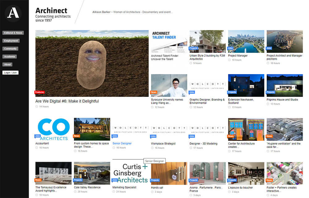 Archinect Website Front Page