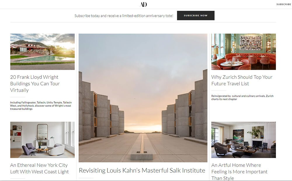 Architectural Digest Website Front Page