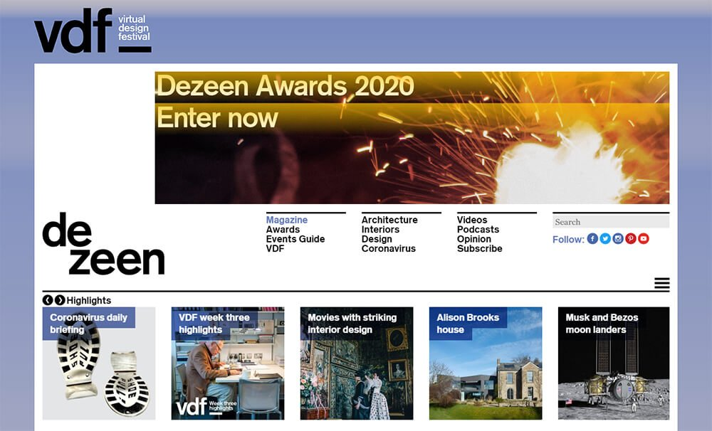 Dezeen Website Front Page