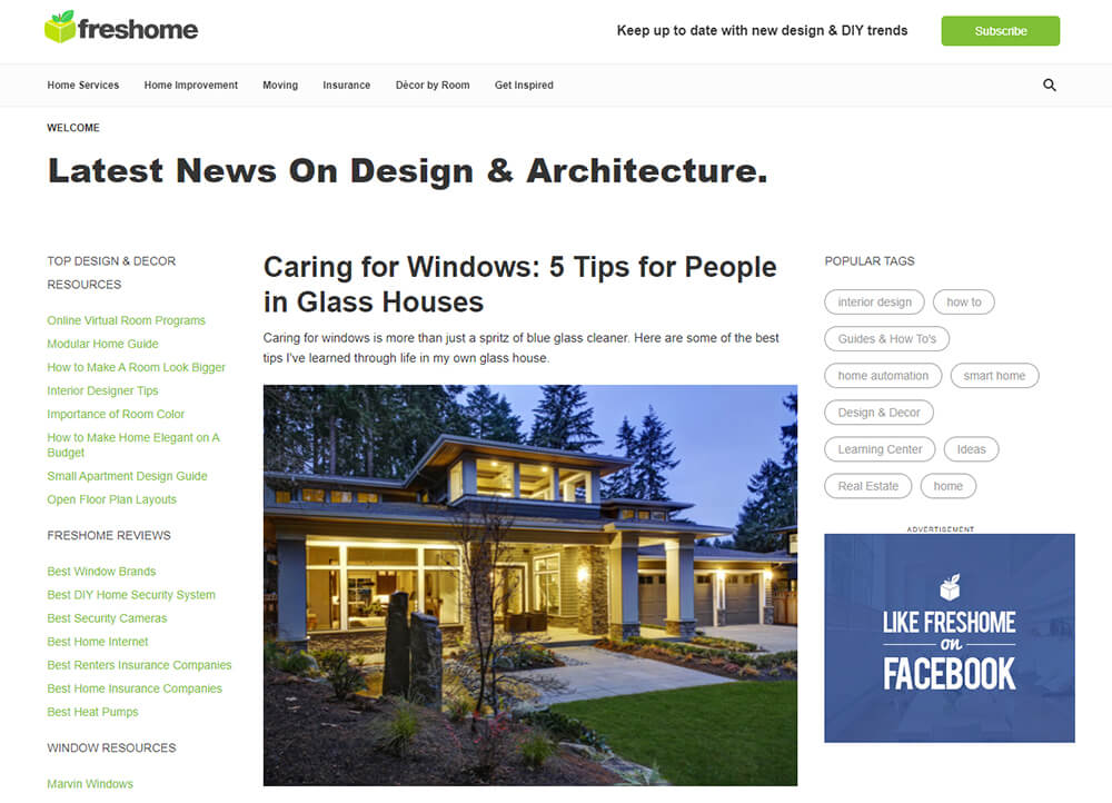 Freshome Website Front Page