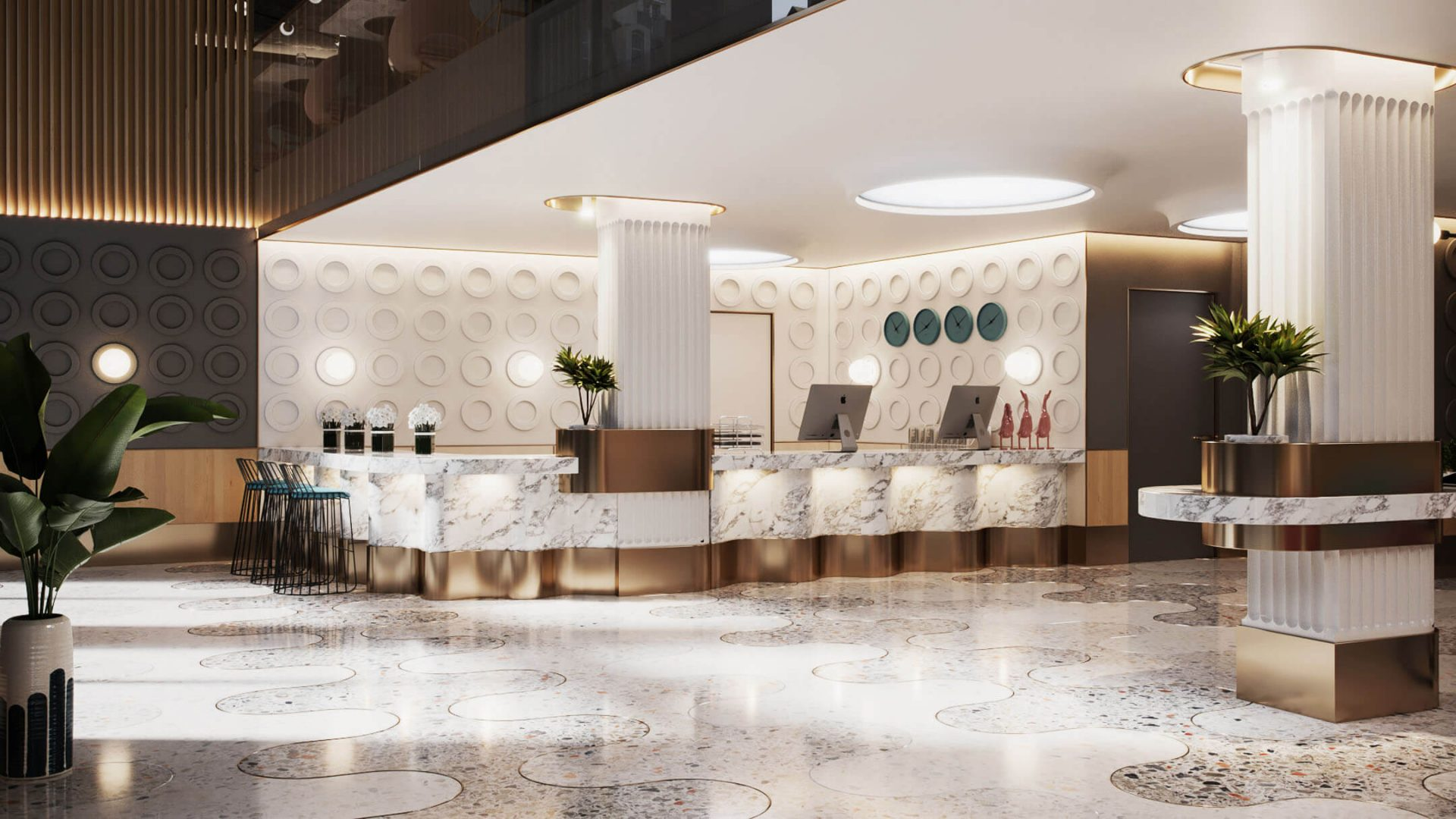 3D Interior Rendering of a Hotel Lobby