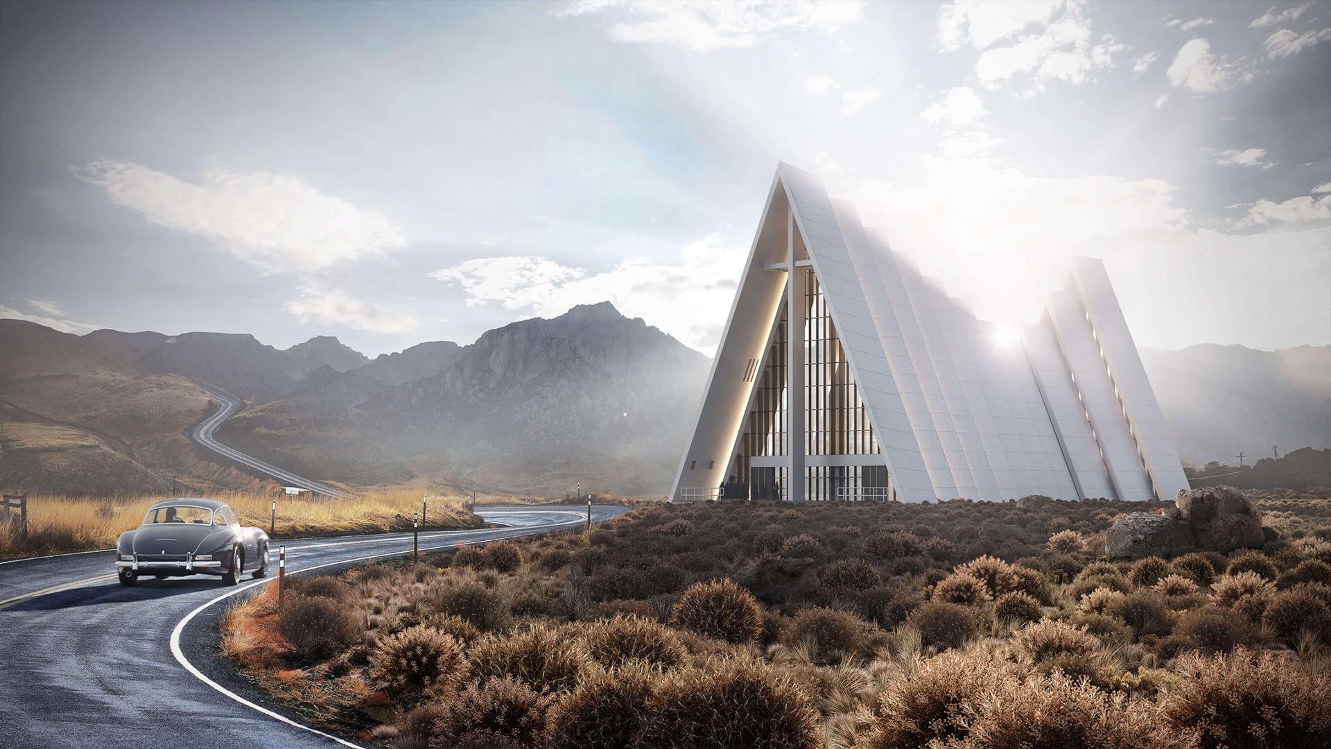 3D Exterior Rendering of a Church Design