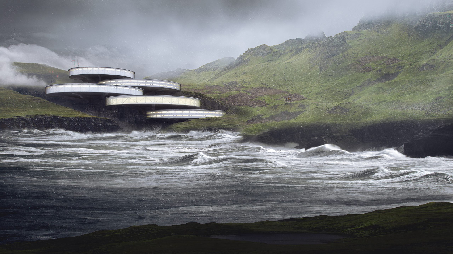 High-Quality Rendering of a Modern Hotel on a Shore