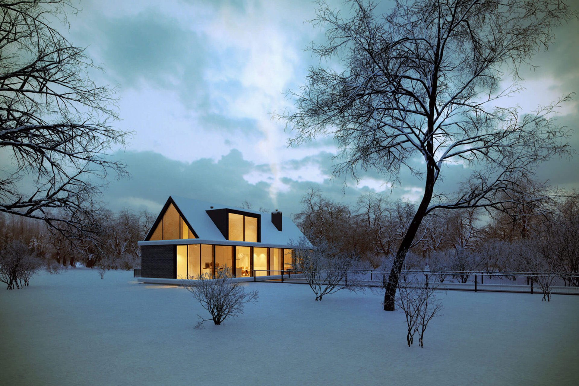 3D Exterior Visualization of a Rural House in Winter