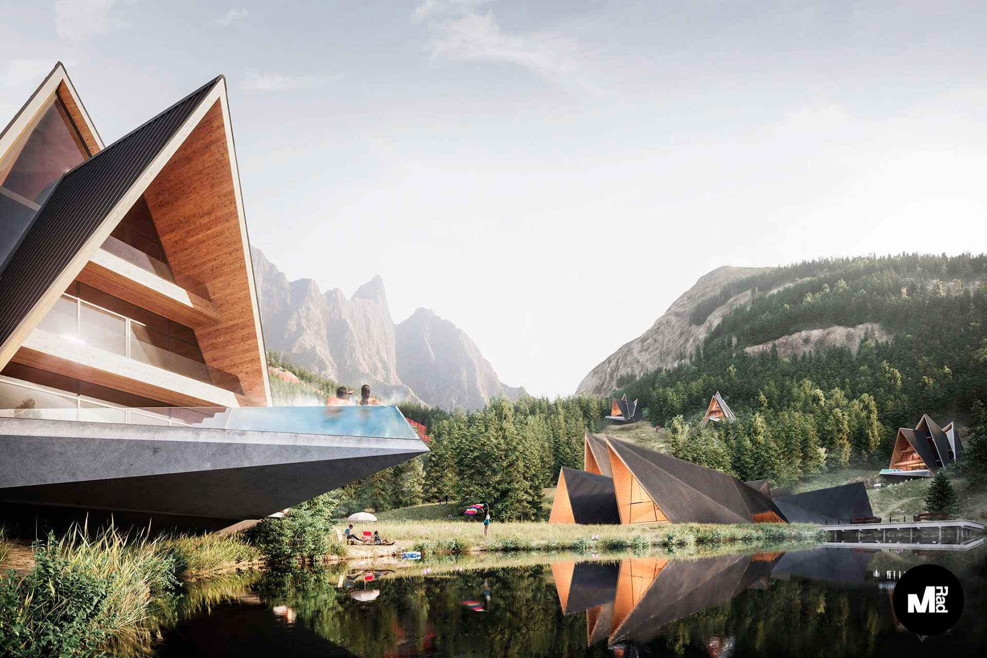 3D Exterior Visualization of a Lakeside Resort Hotel