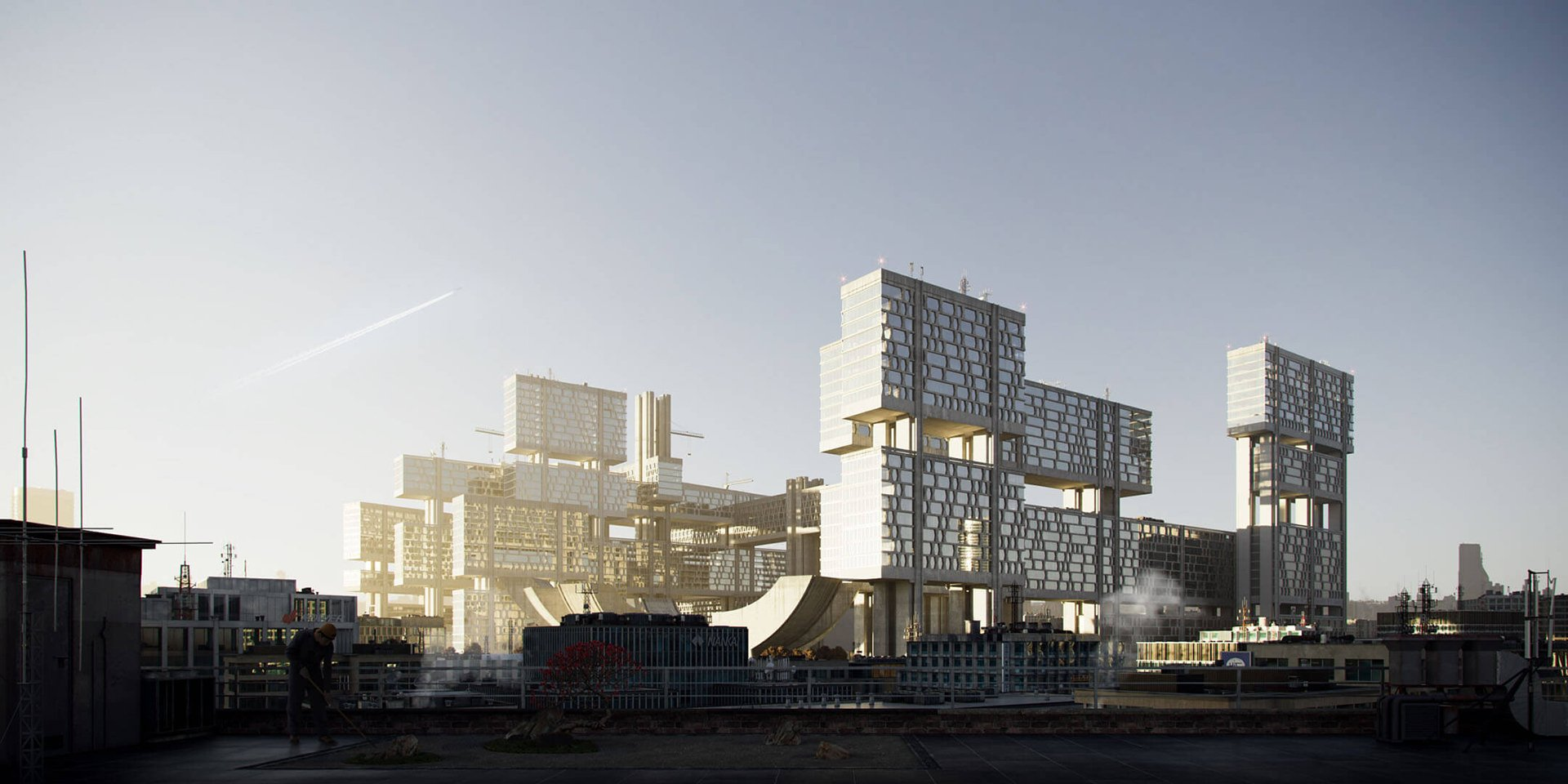 3D Exterior Visualization of a High-Rise Apartment Complex