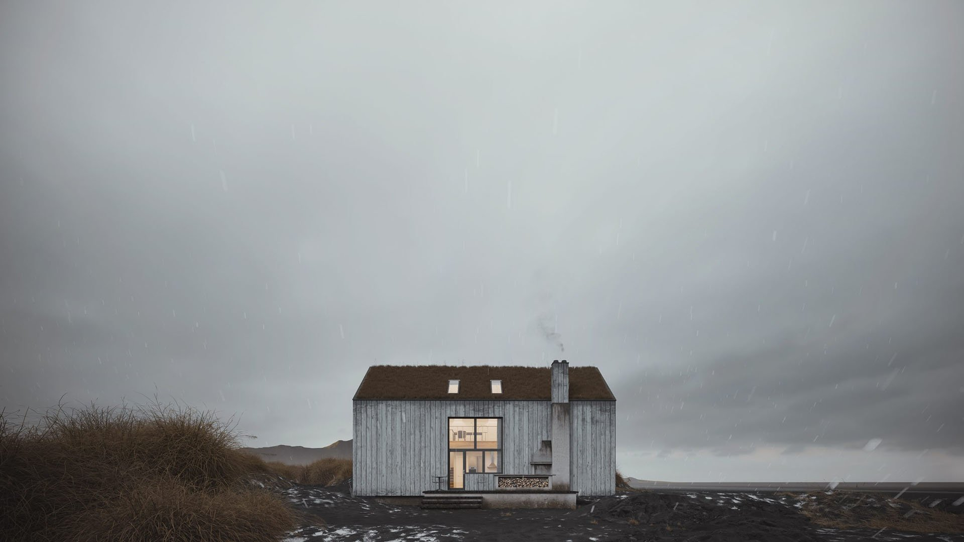 3D Exterior Rendering of a Minimalistic House