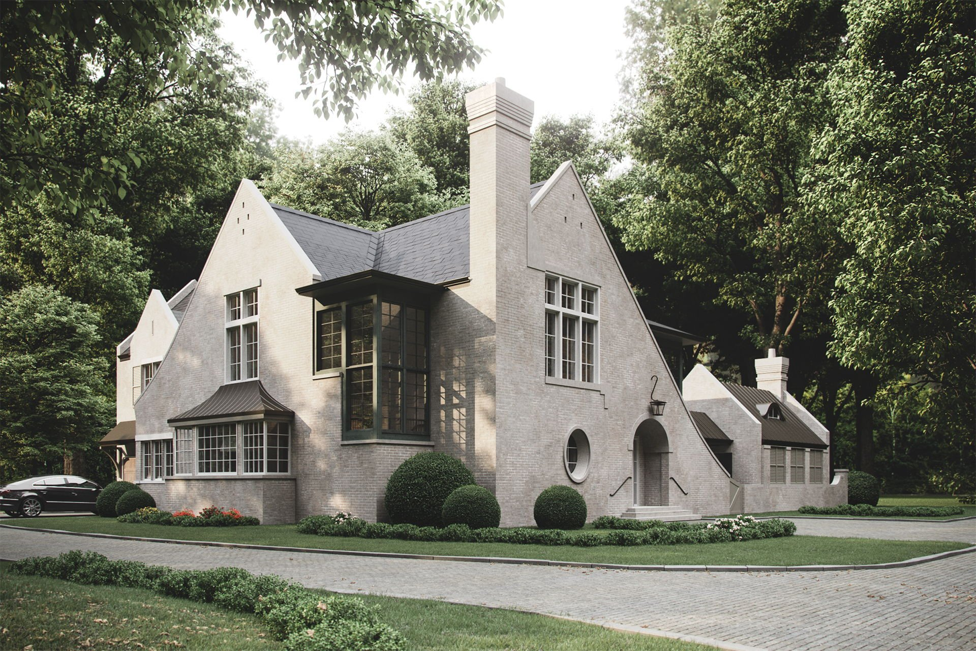 3D Exterior Visualization of a Classic-Style Rural Cottage