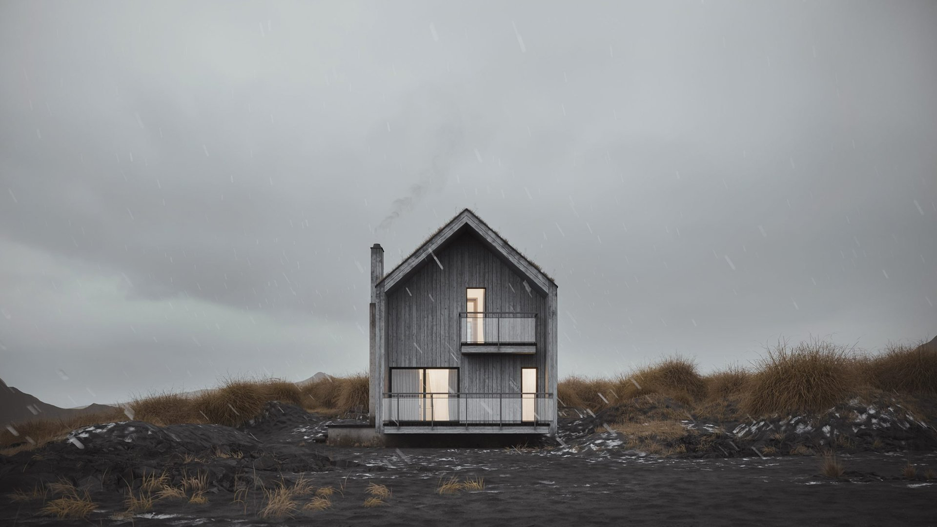 3D Exterior Visualization of a Wooden House in a Field