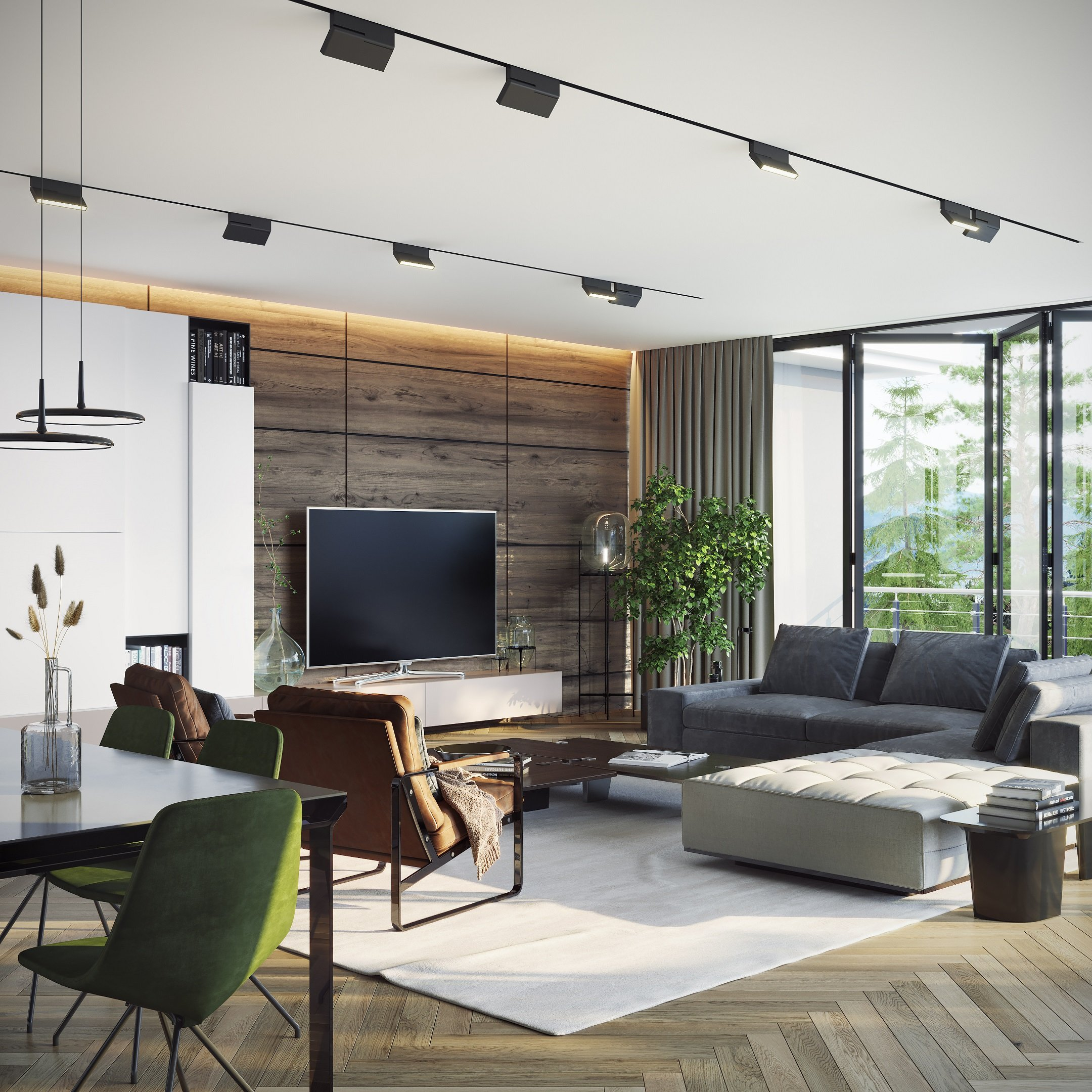 3D Visualization of a Contemporary-Style Living Room