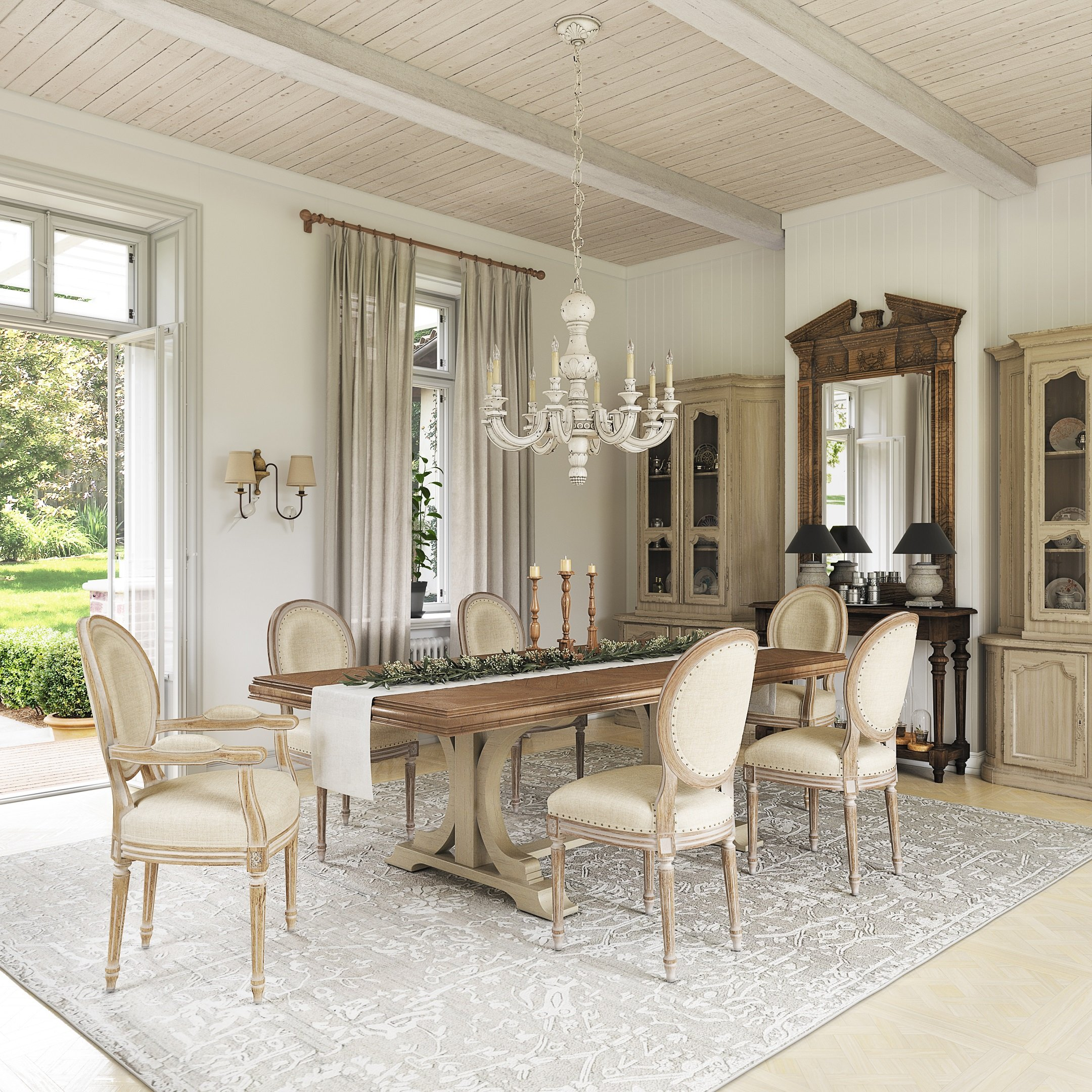 3D Visualization of a French Country-Style Dining Room