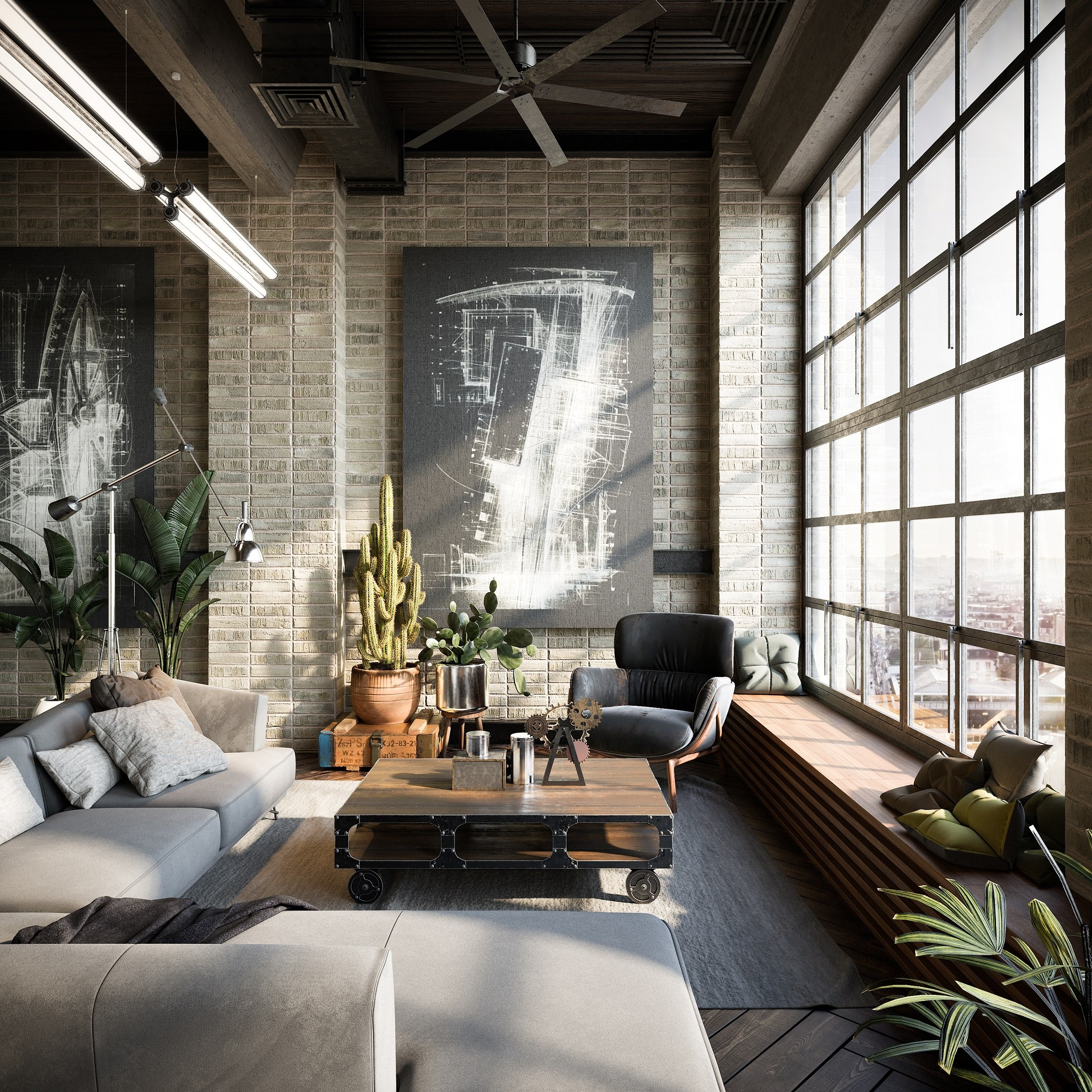 3D Visualization for Interior Design: Industrial-Style Living Room