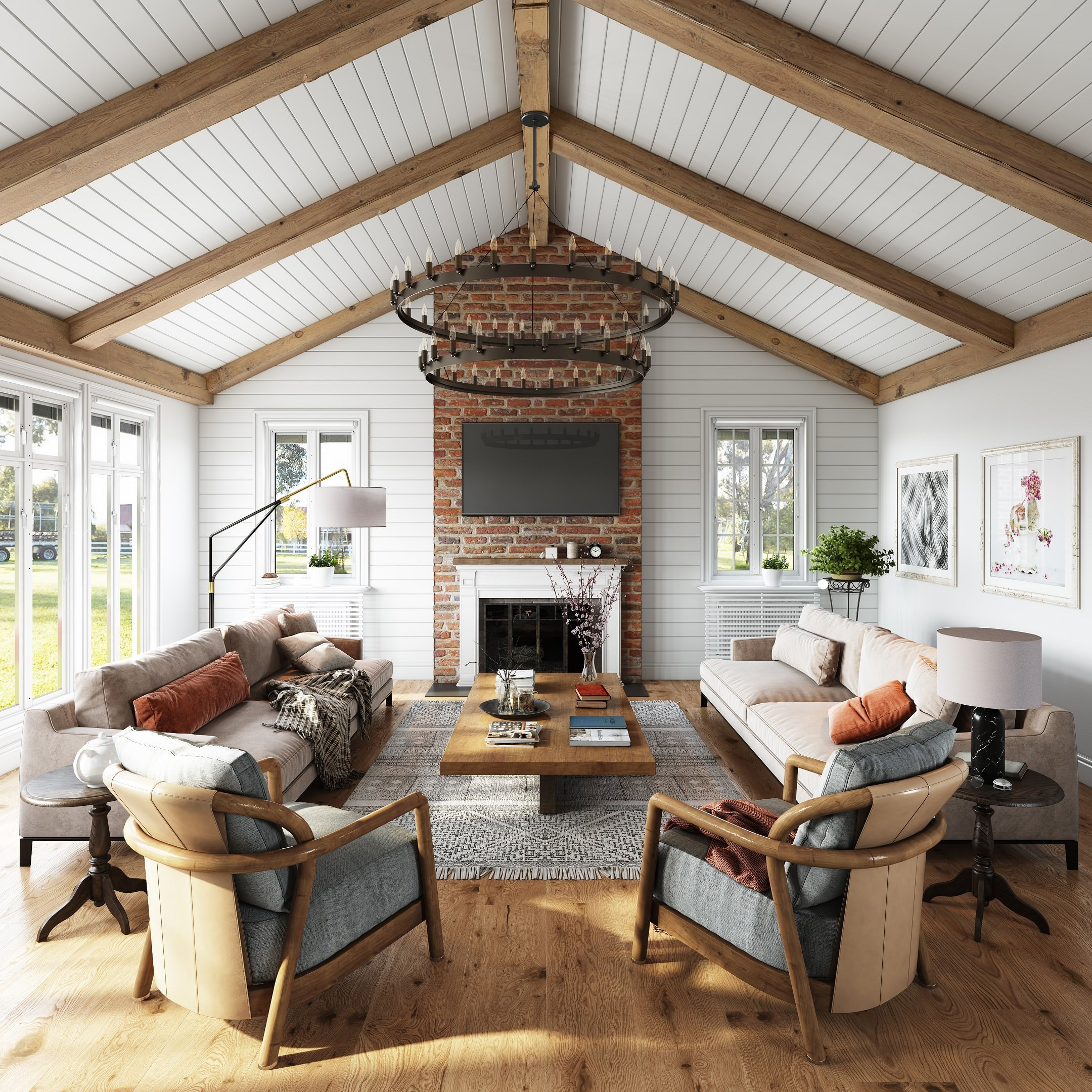3D Visualization of a Modern Country-Style Living Room