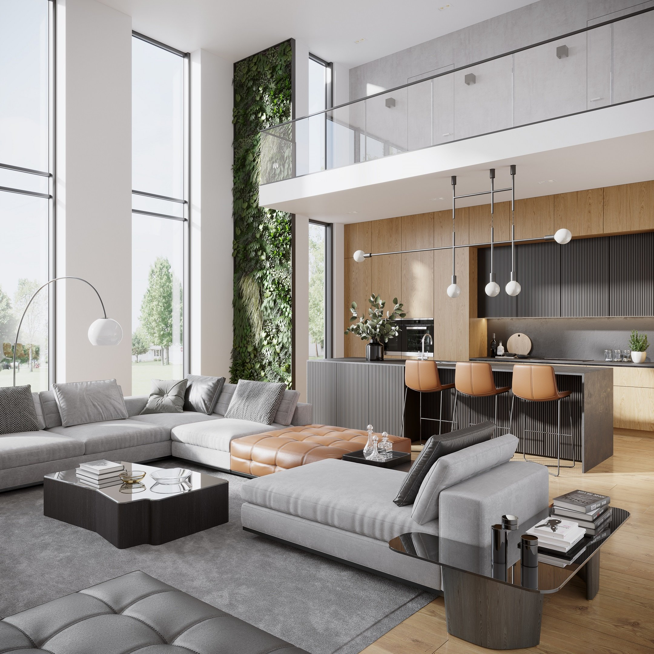 3D Visualization of a Modern-Style Studio Apartment