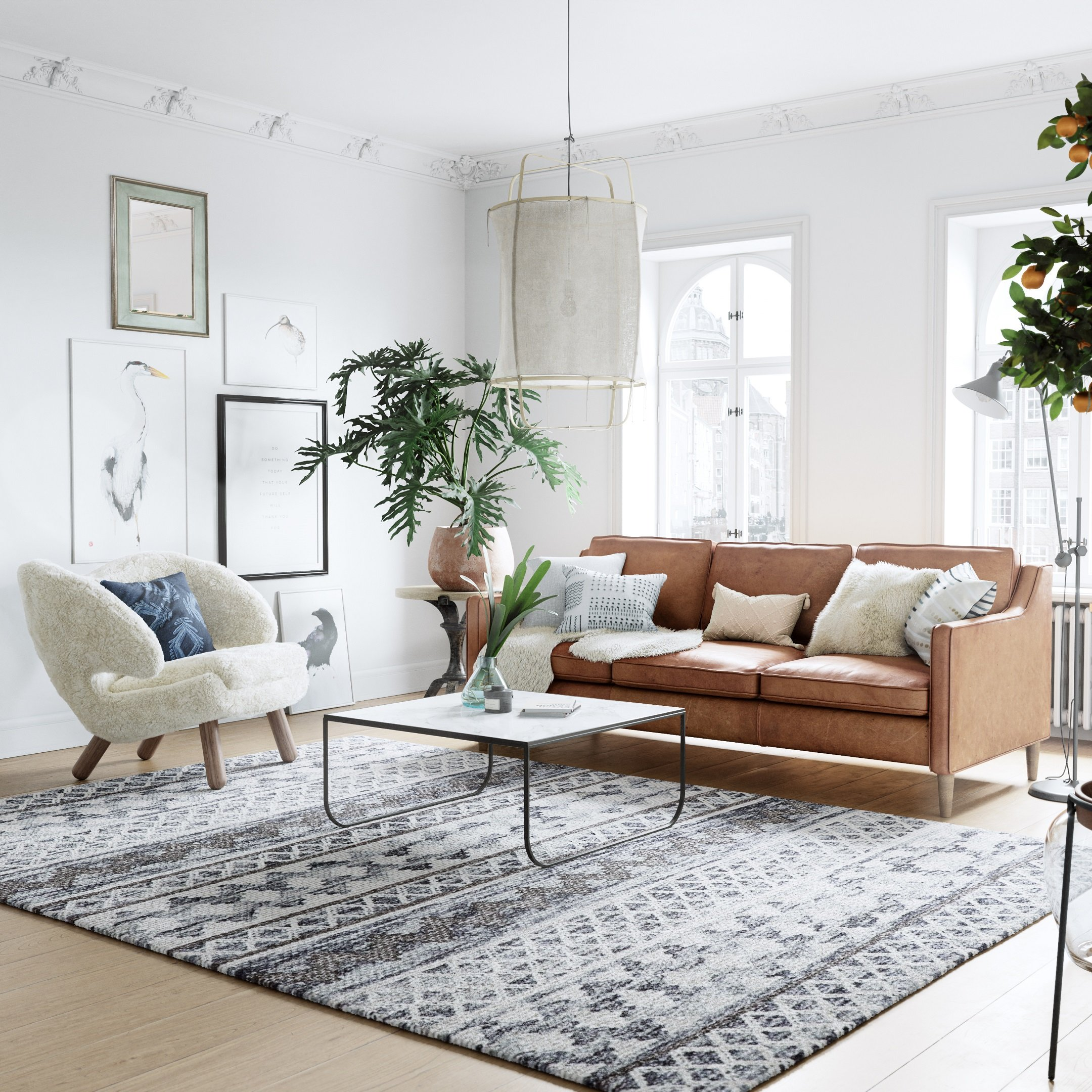3D Visualization of a Scandinavian-Style Living Room