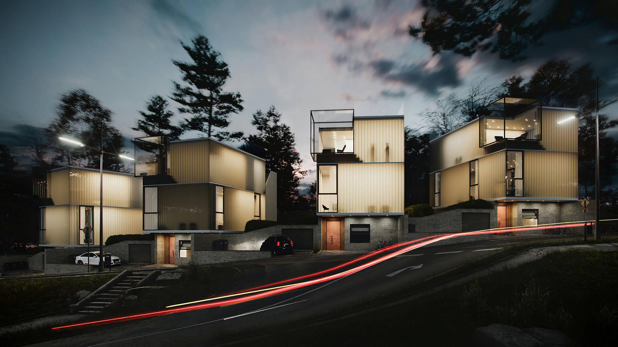 CG Exterior Render Showing Modern Cottages at Evening