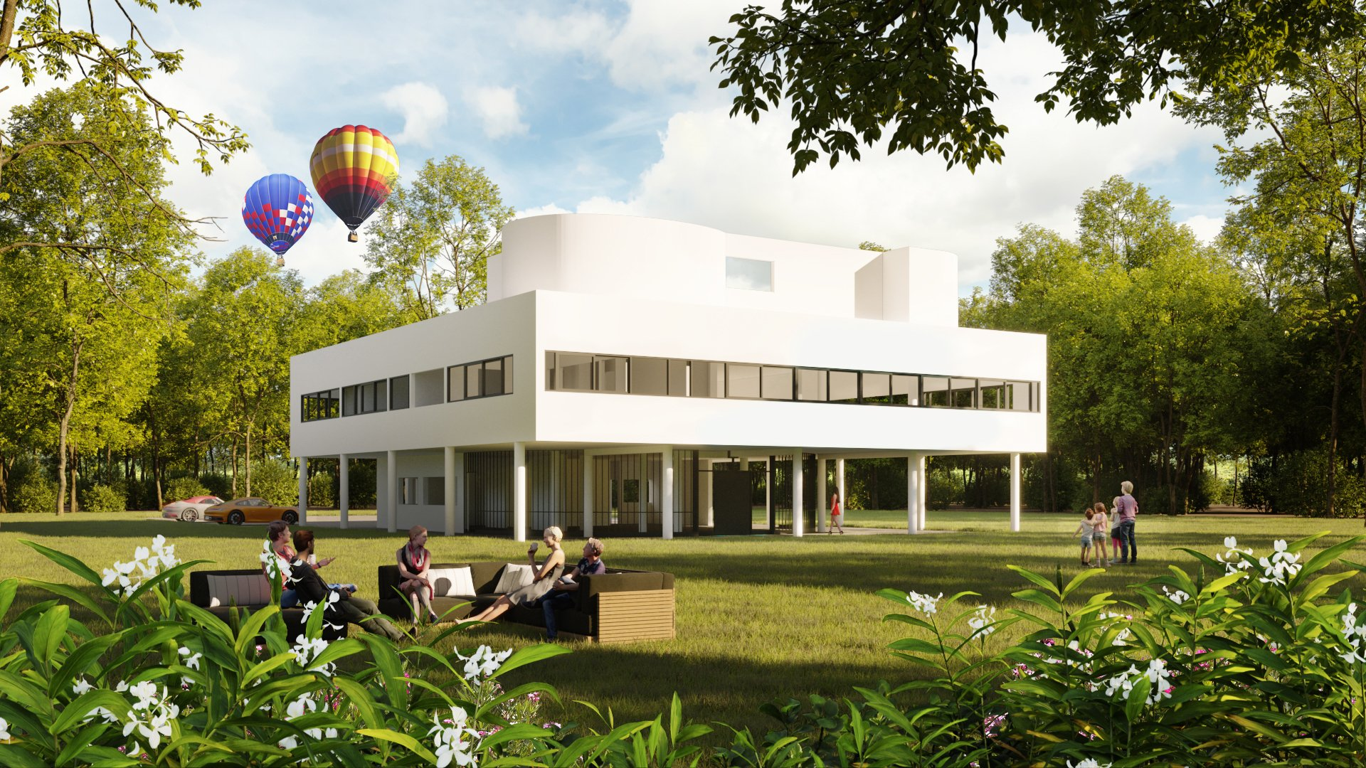 CG Exterior Render Showing a Building and Many Contextual Details