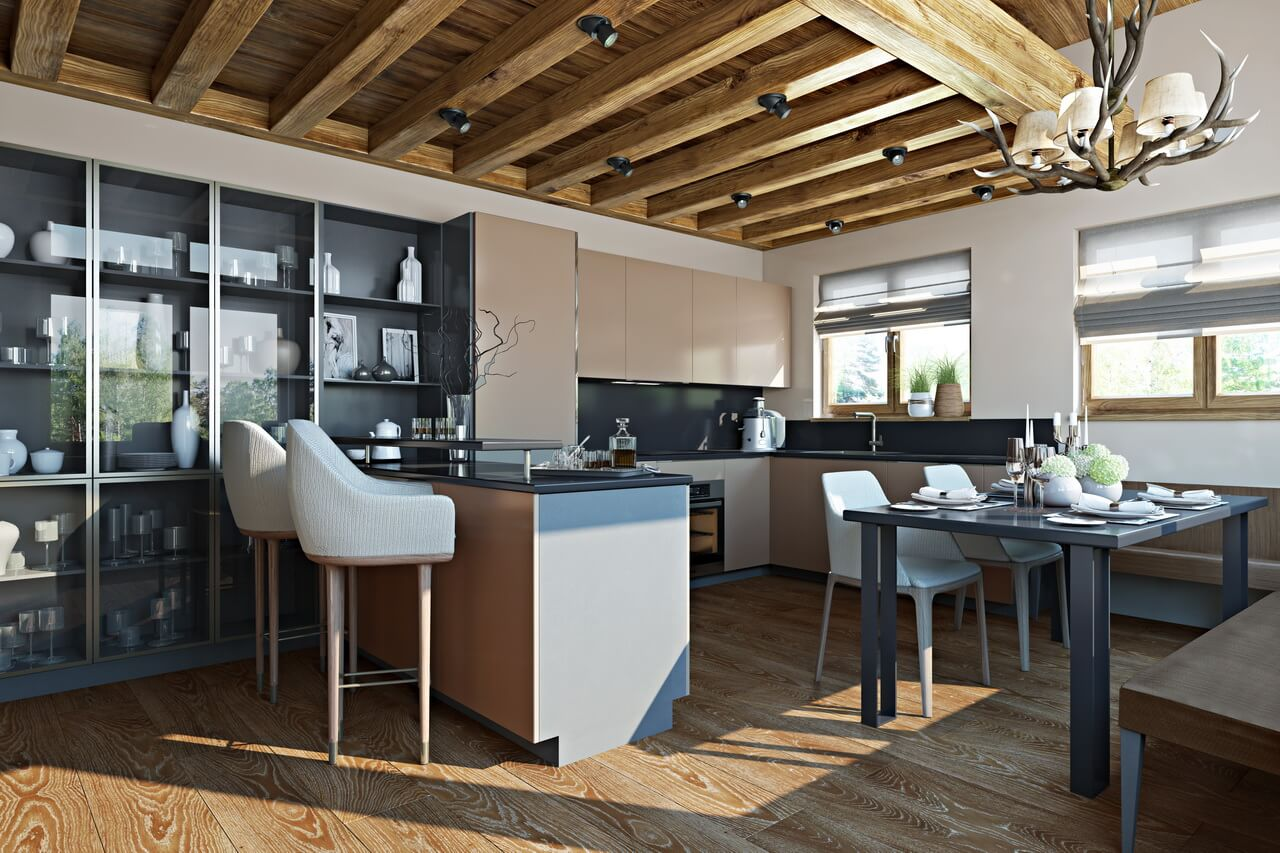 3D Interior Visualization of a Rustic-Style Kitchen