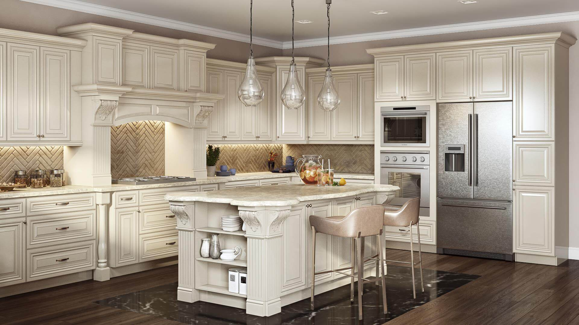 Kitchen Design Rendering of a Vintage-Style Project
