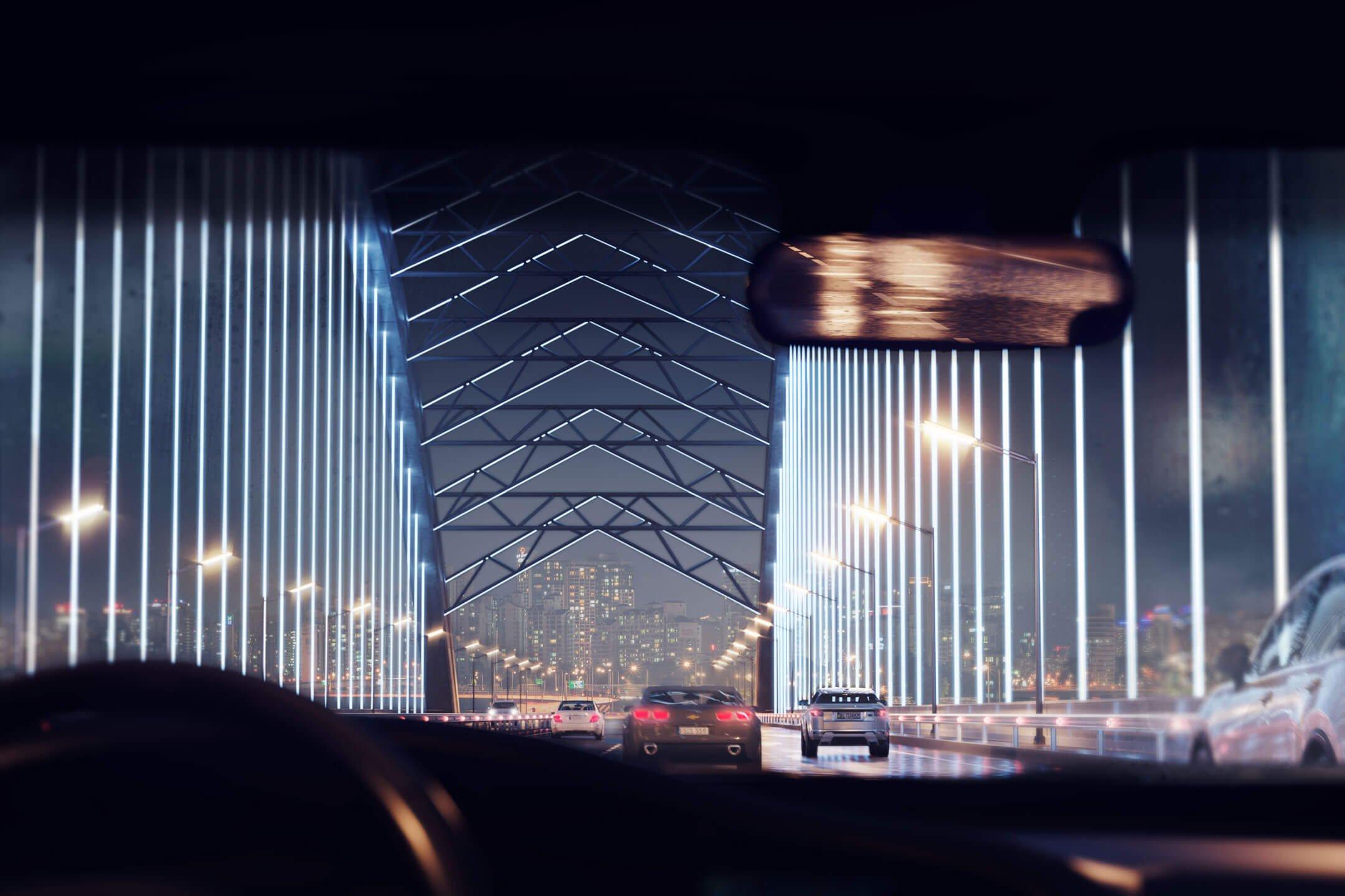 CGI of a Bridge in the Night Setting