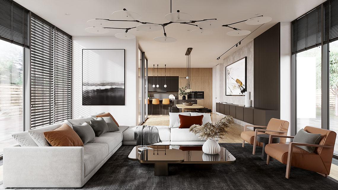3D Rendering of a Studio Apartment