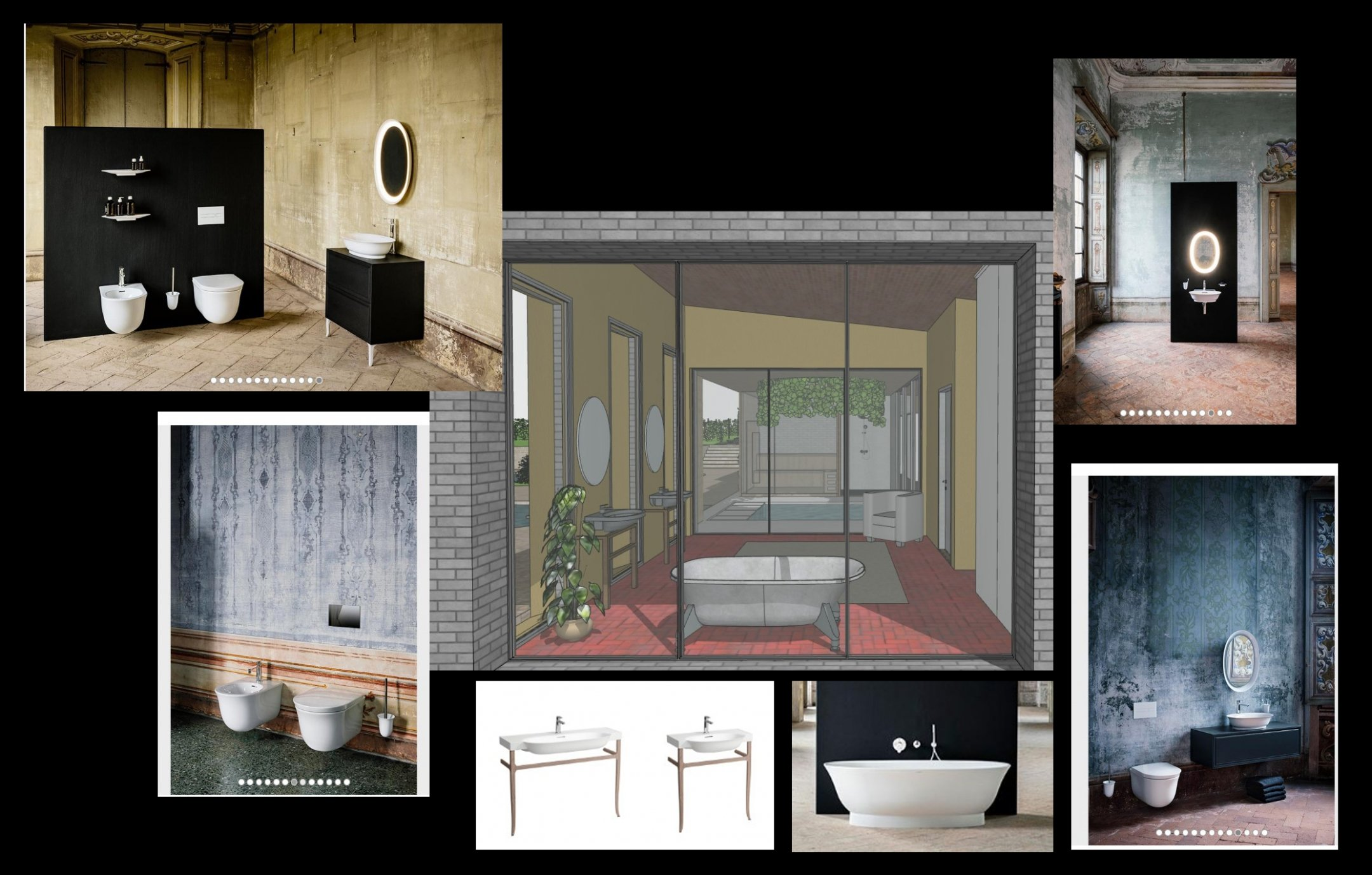 A Moodboard for Creating a Bathroom CG Visual