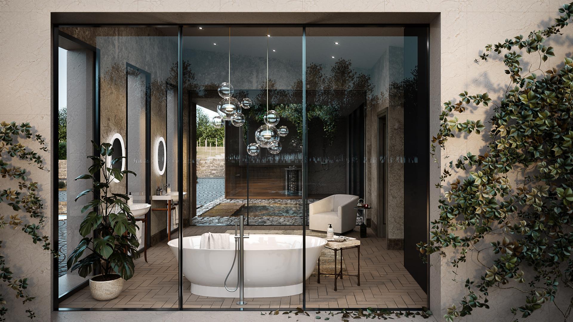 A CG Render Showing a Stylish Bathroom Design