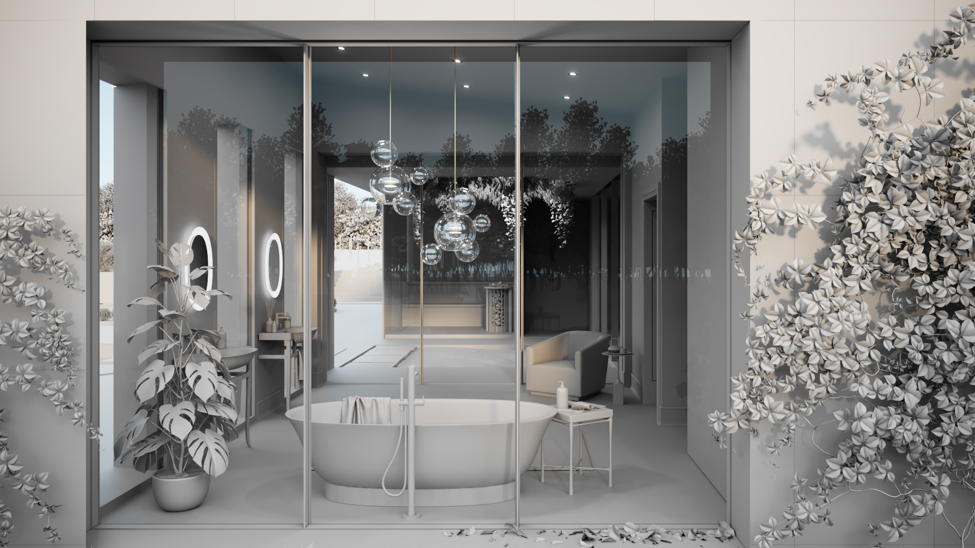Grayscale 3D Visualization of a Bathroom