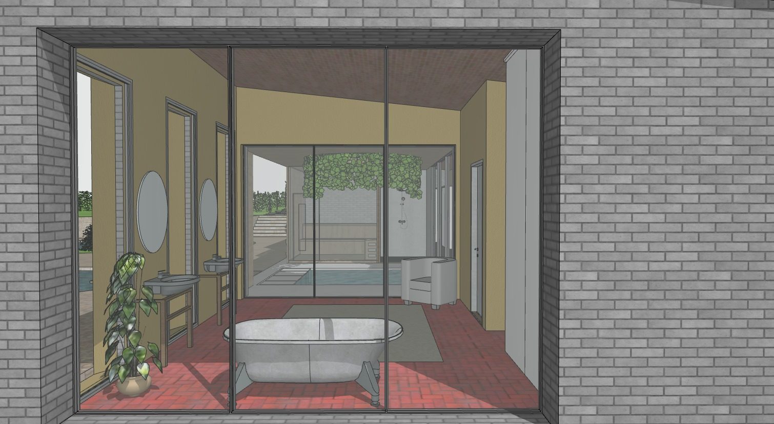 A Sketch of a Bathroom Made in Sketchup