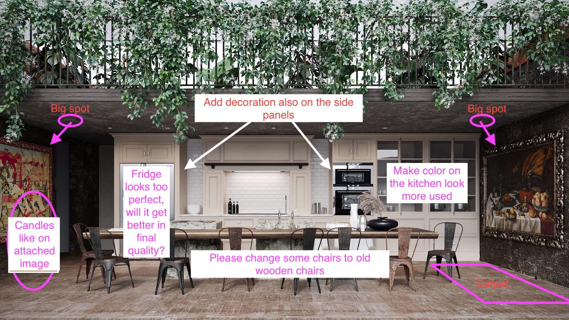 A Kitchen 3D Visualization with a Client's Comments