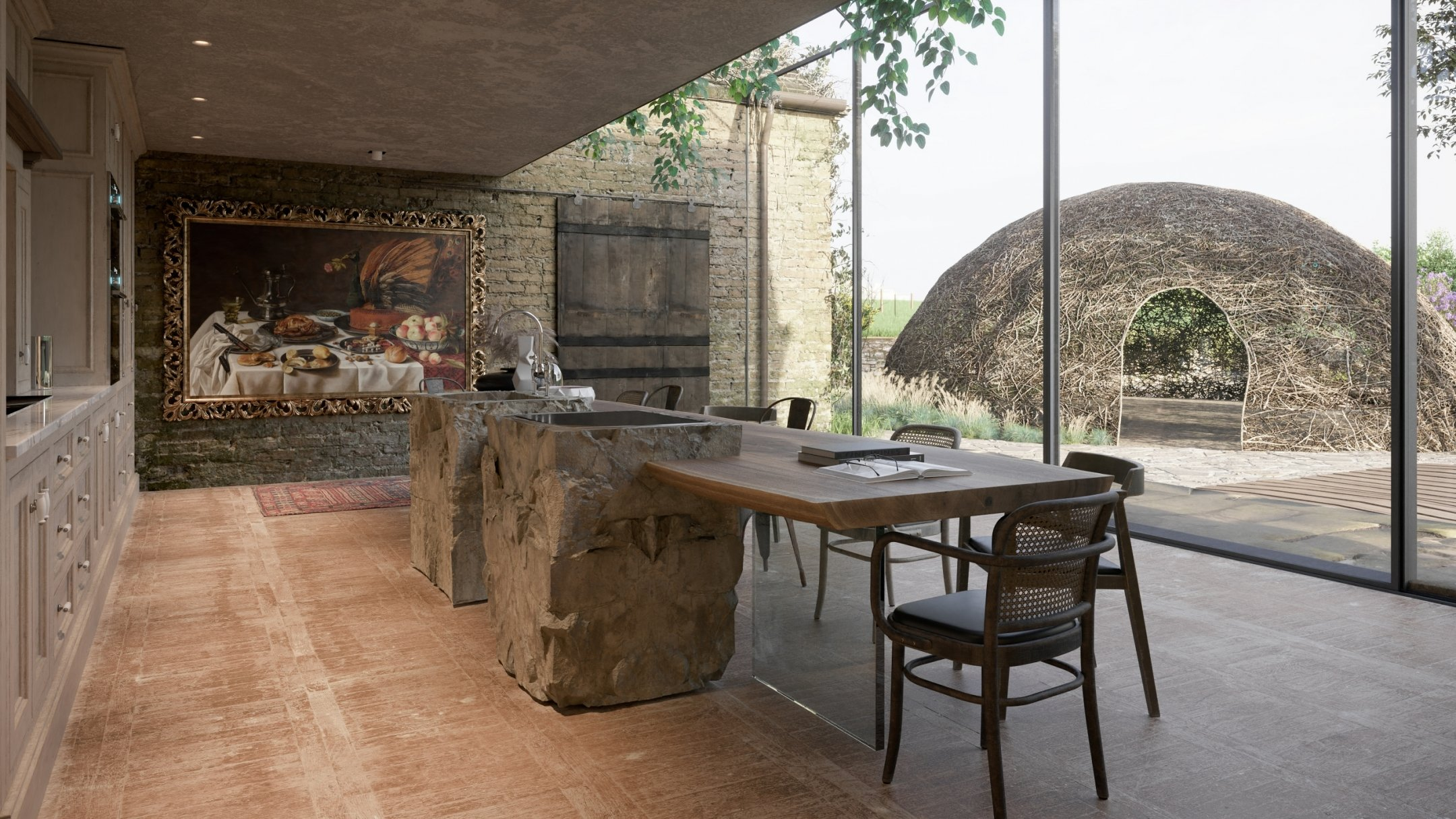 CG Visualization Showing a Luxurious Kitchen Design