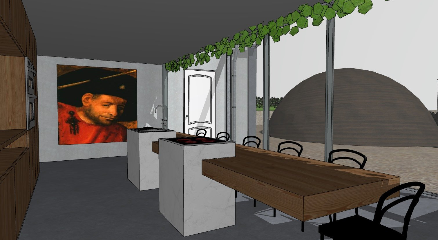A Sketch of a Kitchen Design Made in Sketchup