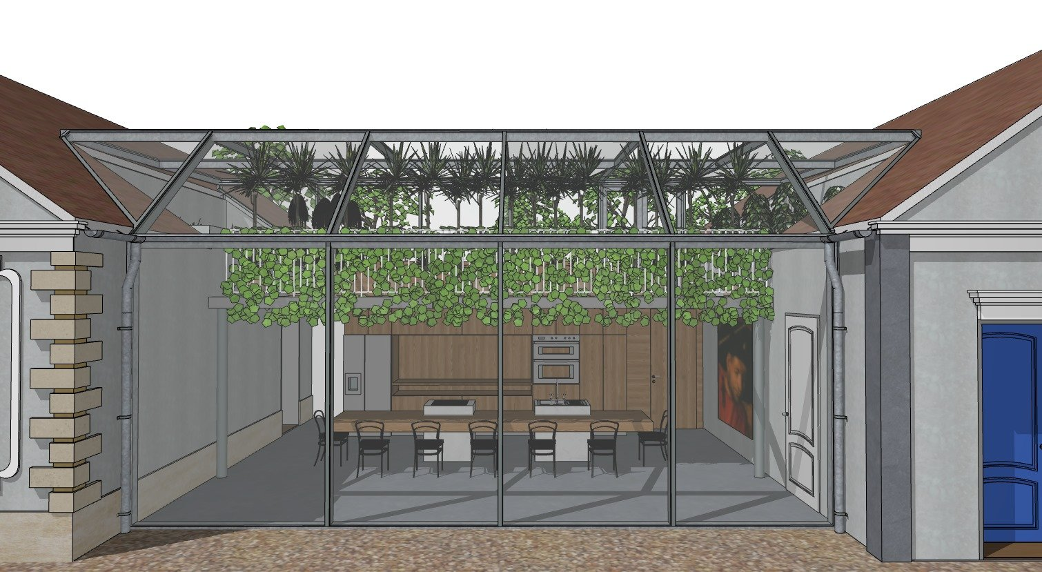 A Drawing of an Outdoor Kitchen Made in Sketchup