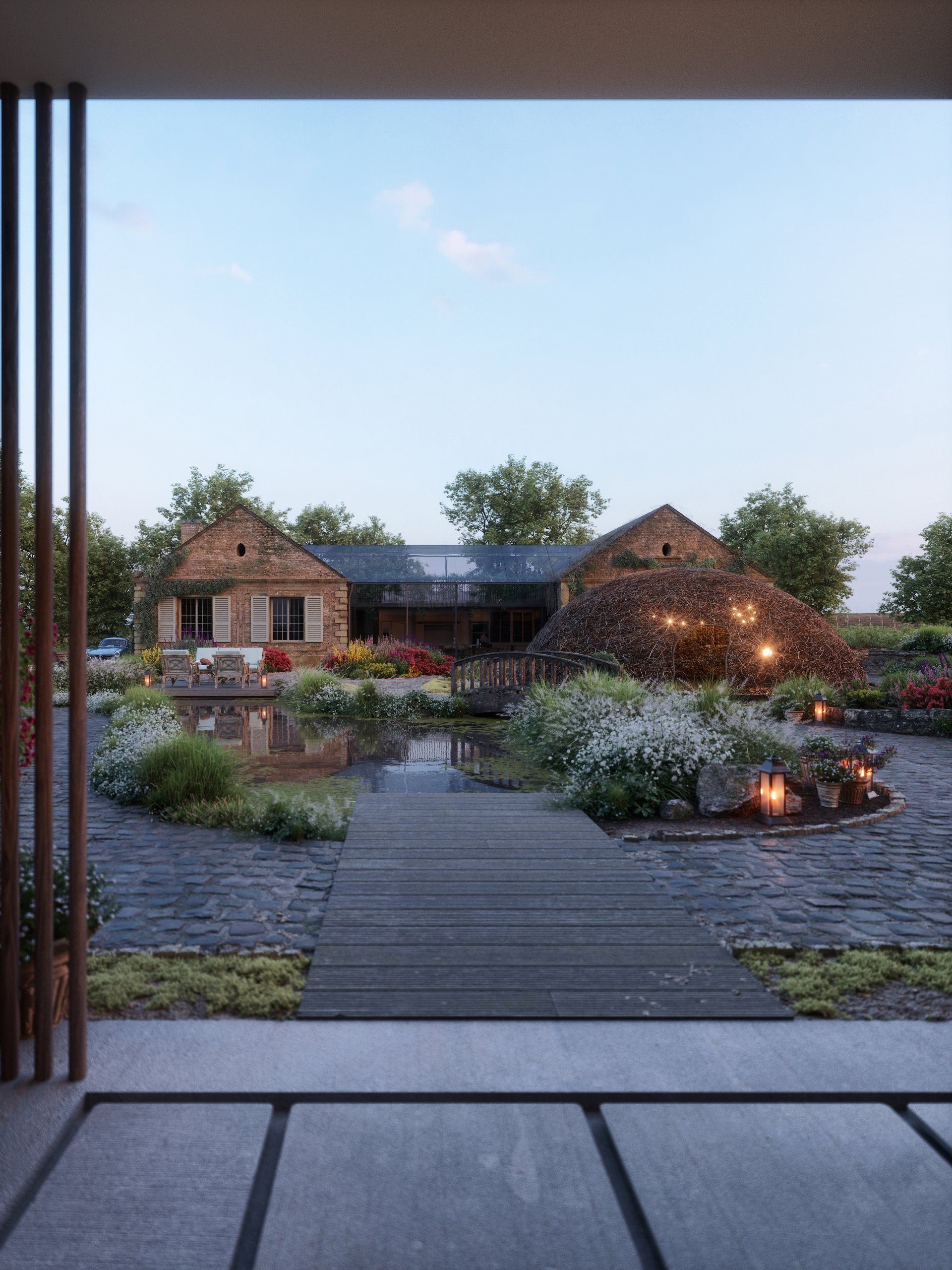 A Rural Residence Shown in 3D Architecture Renders
