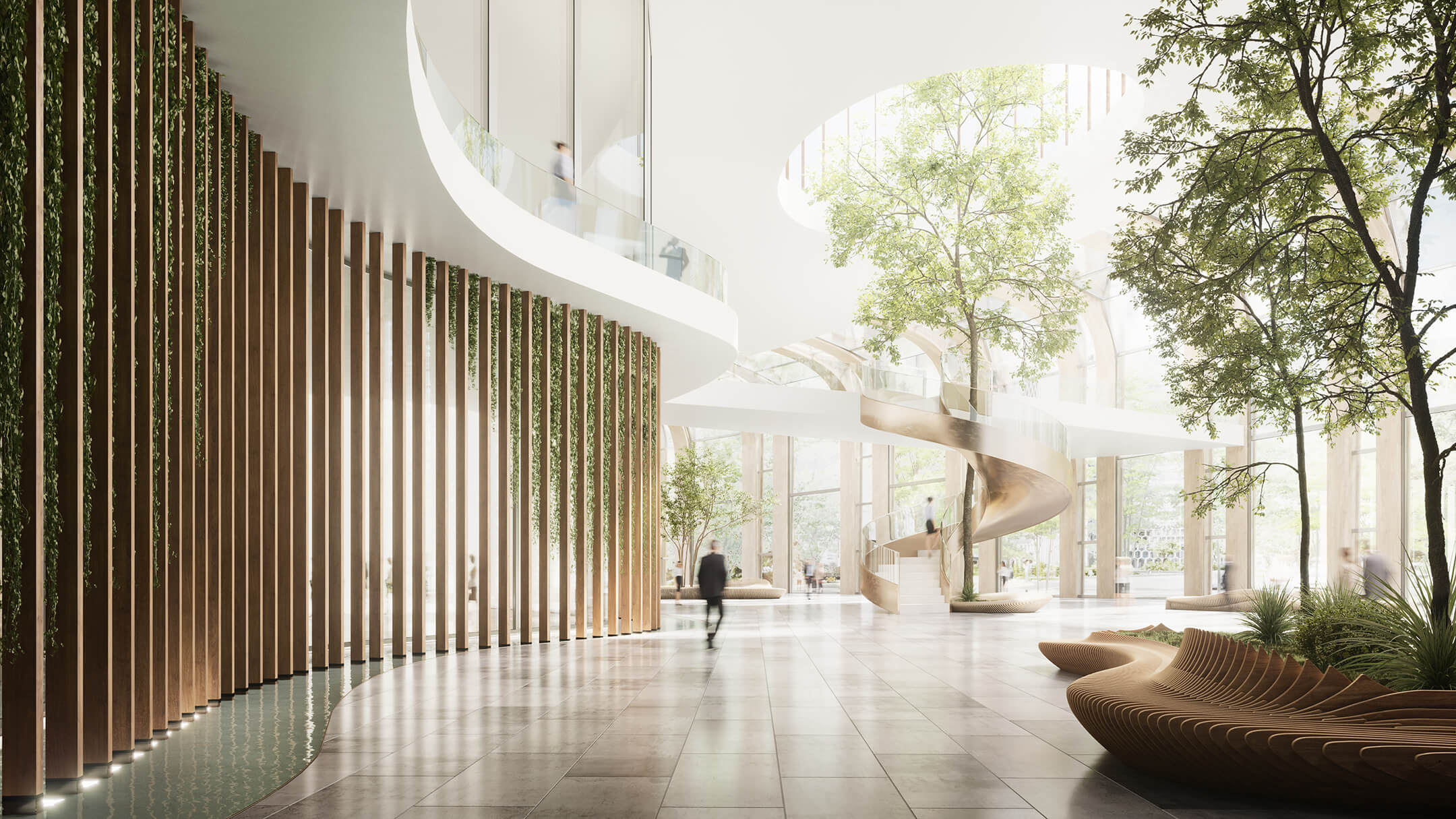 Atmospheric Nature-Inspired CG Interior of a Business Center
