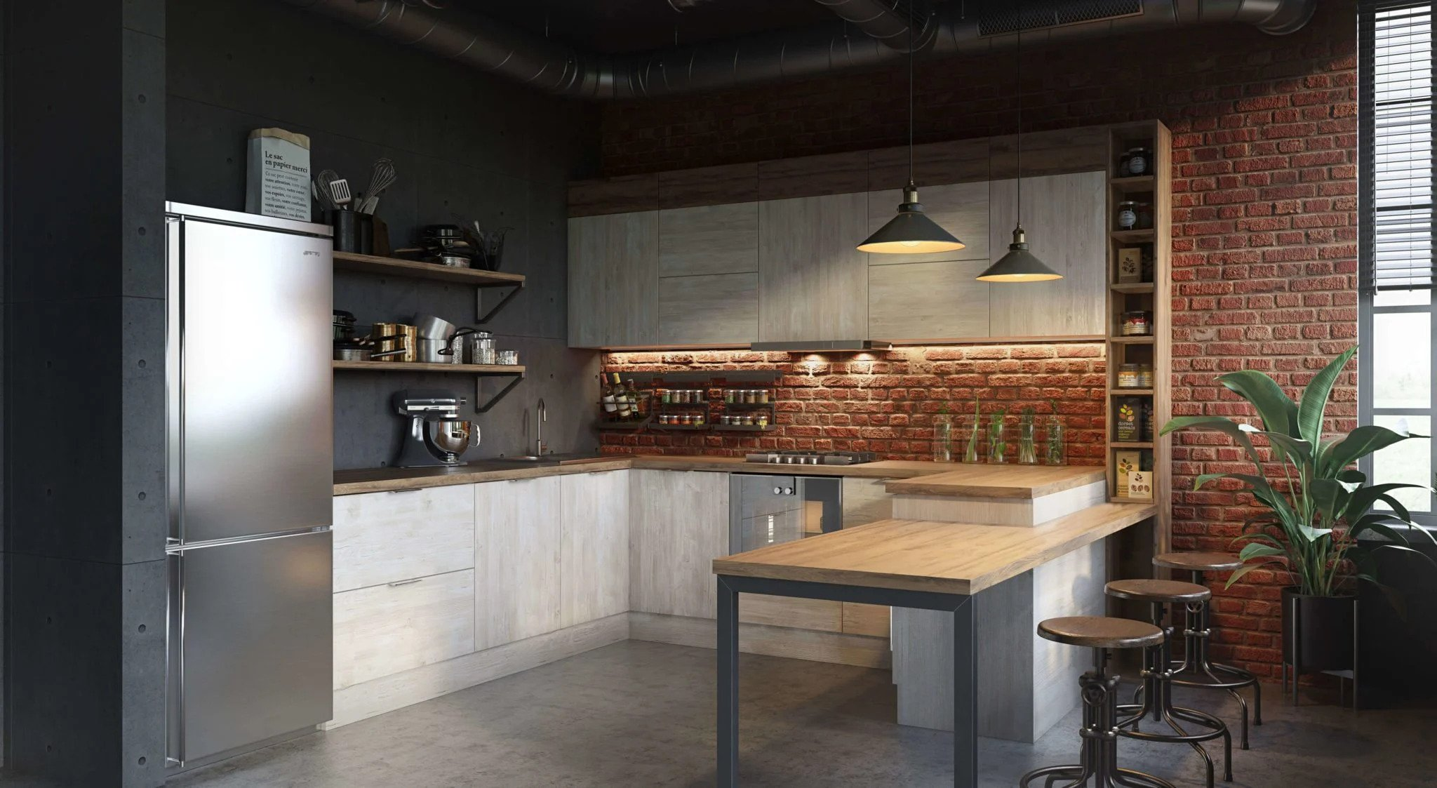 3D Visualization of a Kitchen in industrial Style