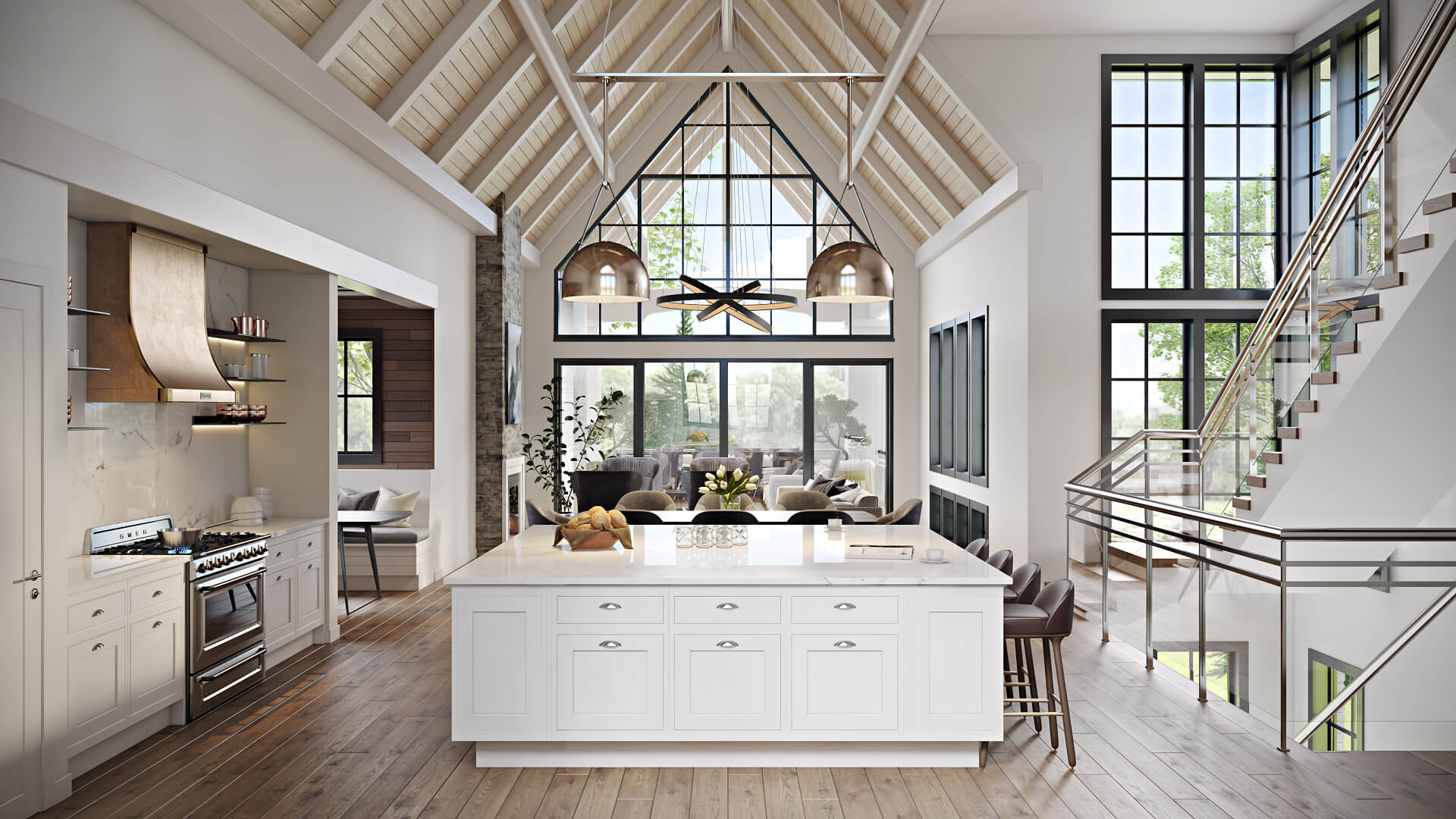 CGI of a Kitchen in the Style of Modern Farmhouse