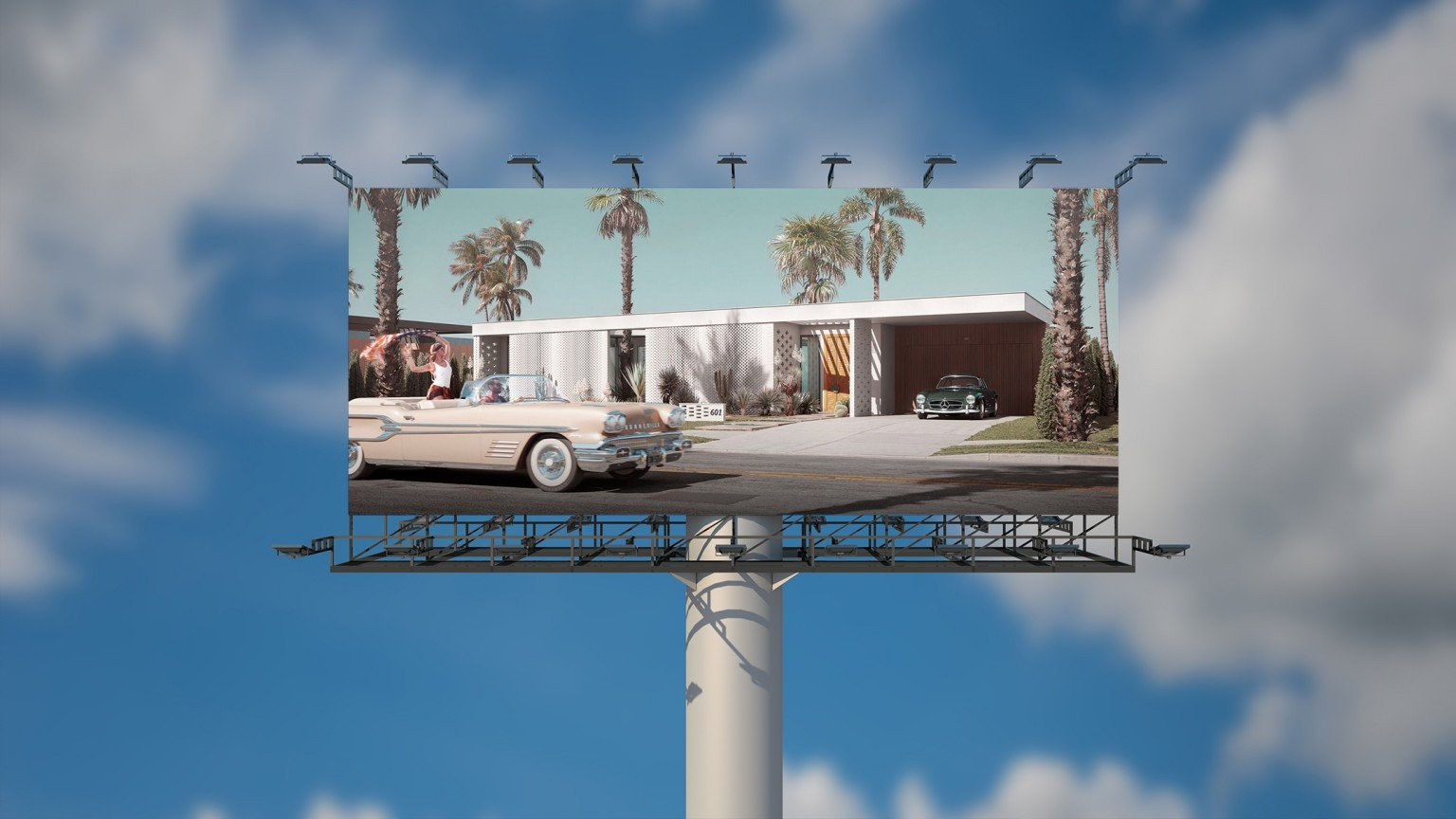 A Billboard with a CG Image of a Property for Pre-Sale