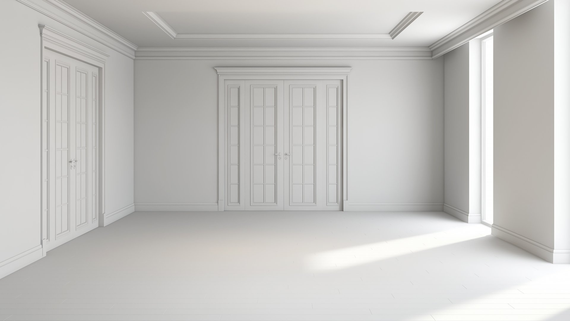 Render Results: a Grayscale CG Visual of a Room