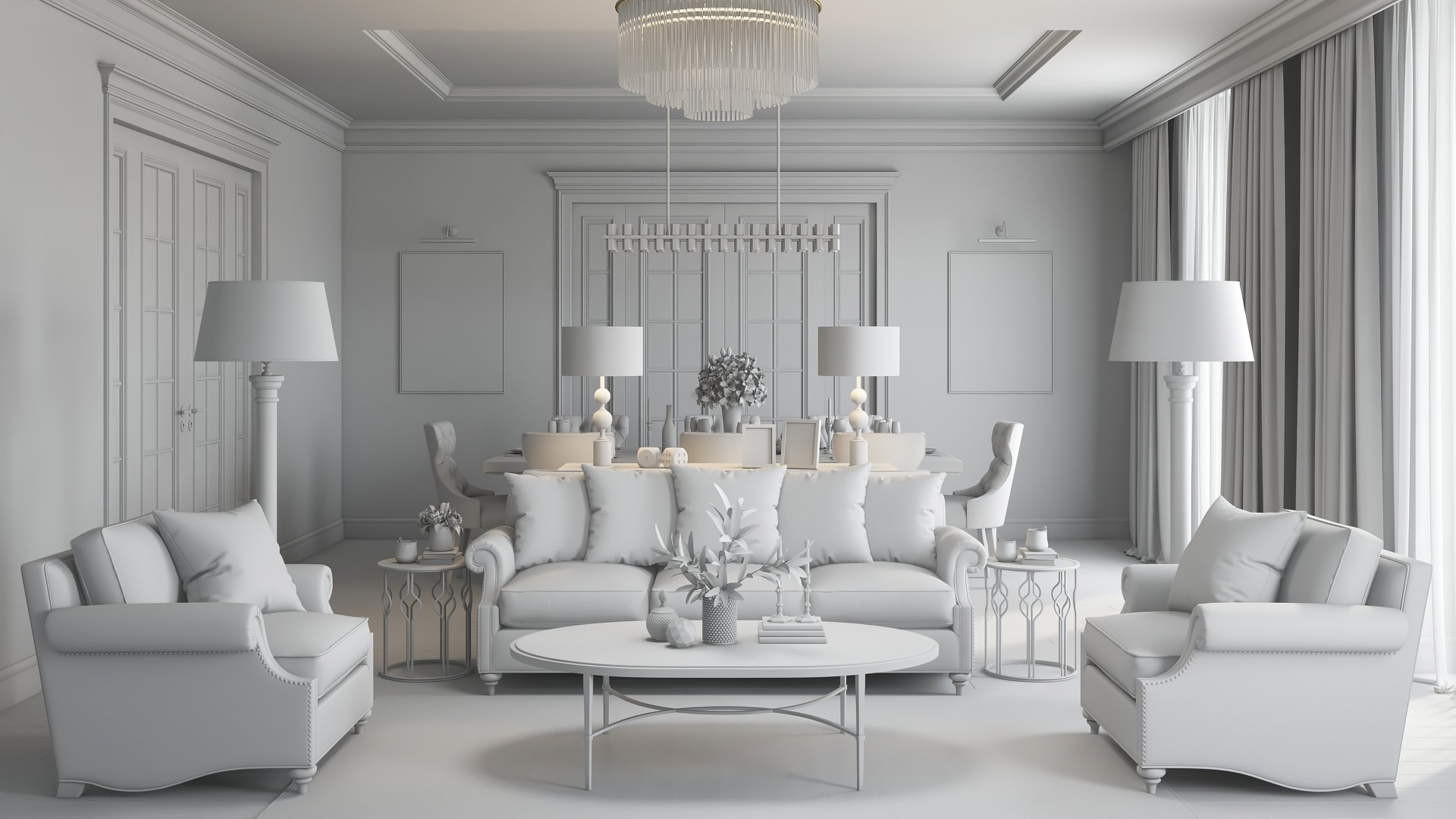 A Grayscale CG Rendering for Interior Design