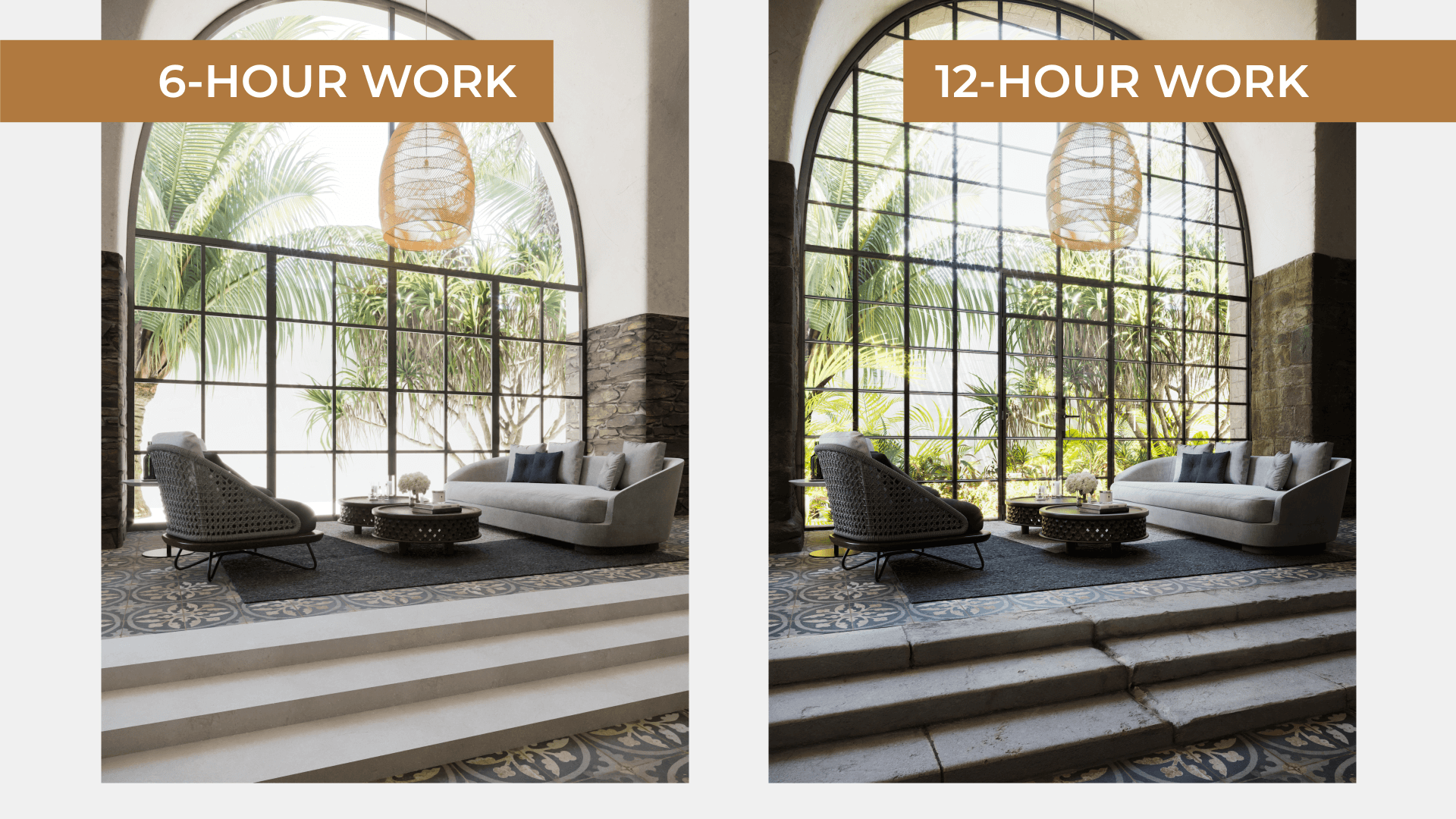 Comparison Collage of Two 3D Renders of the Same Interior