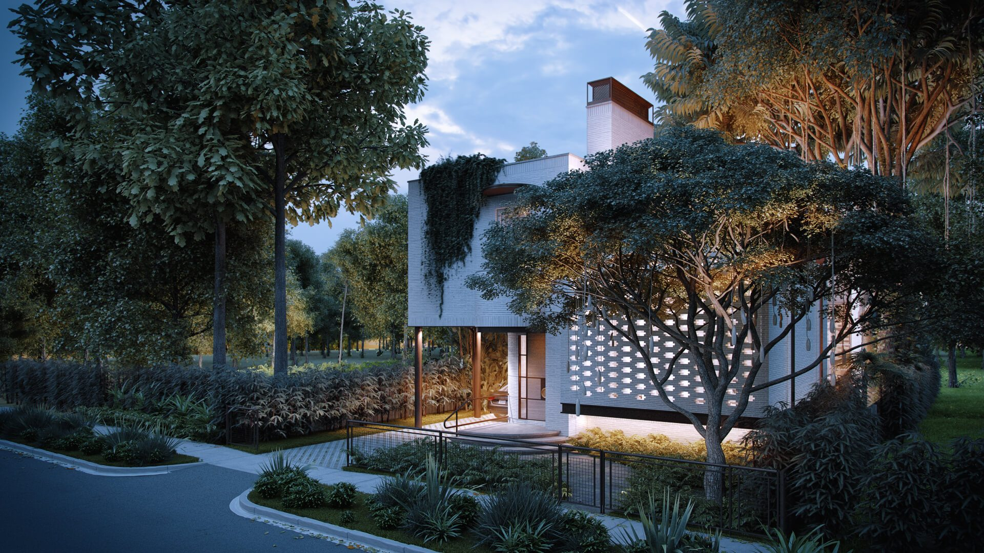 Architectural 3D Rendering of a House in the Evening