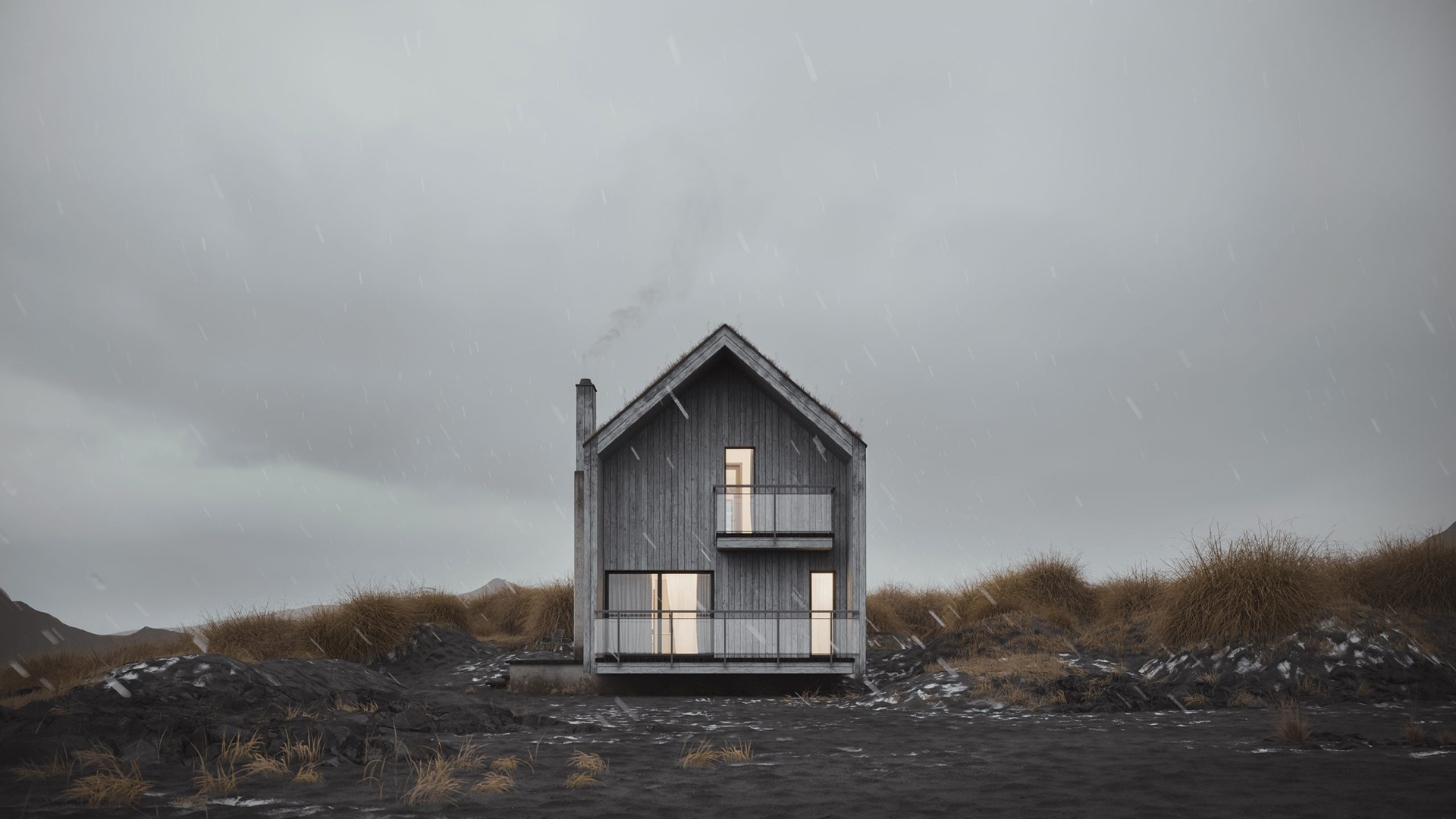 Error-Free 3D Render of a House on a Rainy Day