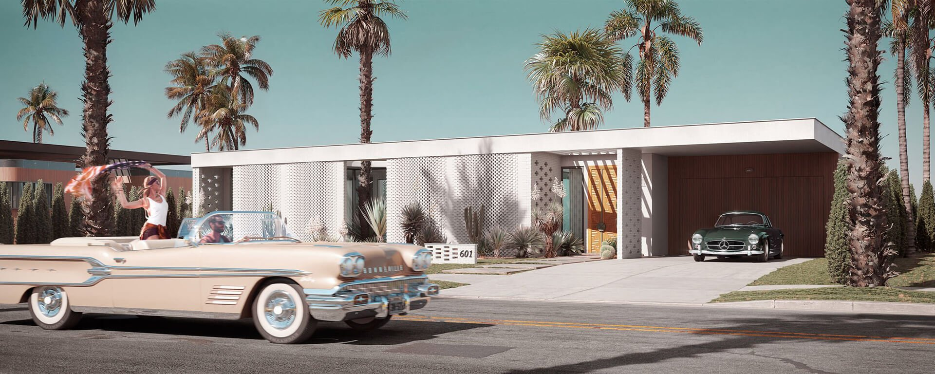 Atmospheric CG Image of a Villa in LA
