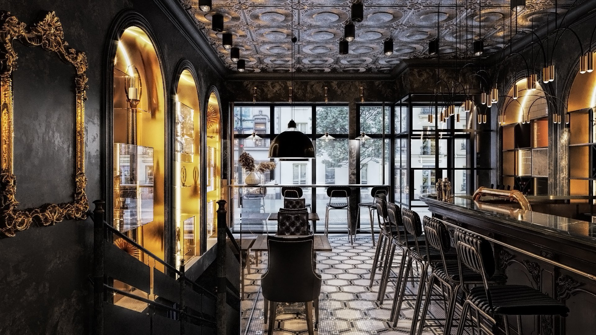 Detailed 3D Rendering of a Restaurant Interior